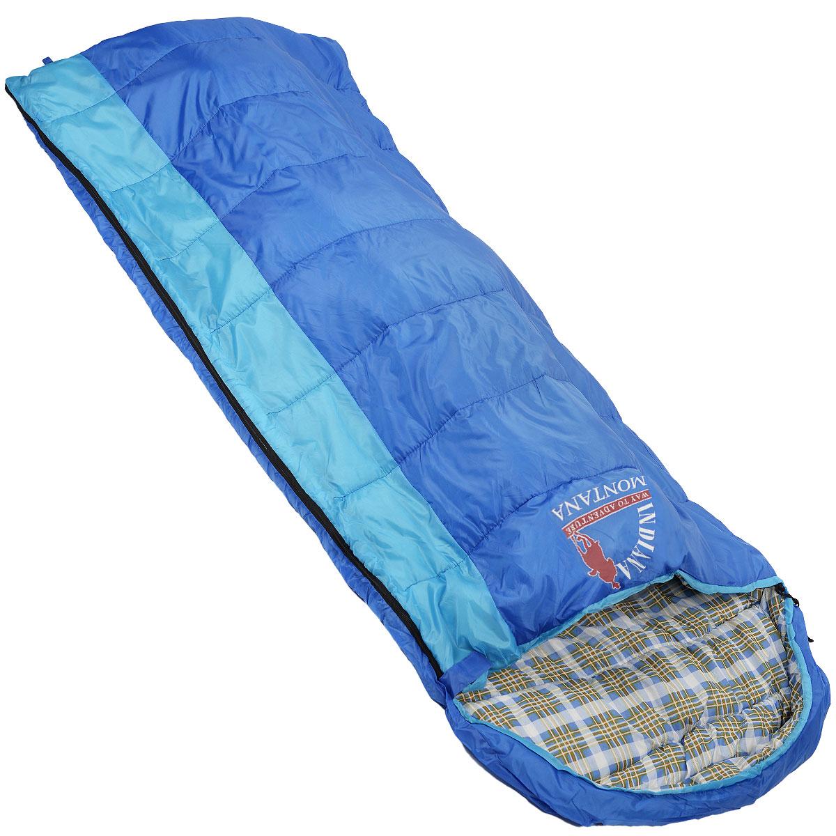 Спальный мешок-одеяло Indiana Montana L-zip от -4 C, цвет: синий, голубой, левосторонняя молния, 180+35 см х 90 см360700034Данная модель предусмотрена для холодного времени года, так как рассчитана на температуру до -4° C. Увеличенные размеры, возможность состегивания двух спальных мешков с правой и левой молнией, делают спальный мешок MONTANA оптимальным выбором для отдых а на природе, туризма и кемпинга в том числе и в холодное время года. Слой синтетического утеплителя контролирует терморегуляцию внутри спального мешка, поддерживая в нем необходимую температуру независимо от значения температуры окружающего воздуха. Коконообразная анатомическая форма обеспечивает плотное прилегание спального мешка, в то же время внутри него предусмотрено достаточно свободного места для комфортного сна. В сложенном виде мешок занимает очень мало места и весит совсем не много. Тип спального мешка: одеяло с капюшоном. Внешний материал: полиэстер. Внутренний материал: полиэстер.