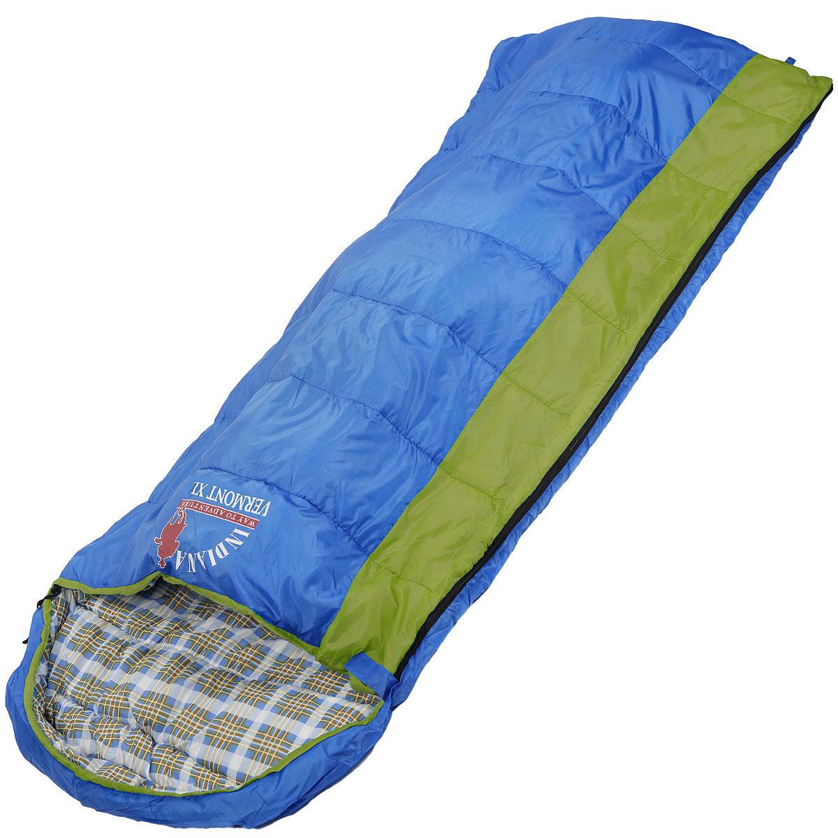Мешок спальный Indiana Vermont Xl, правосторонняя молния, 185 см х 95 см360700036Самый популярный трехсезонный спальник-одеяло с подголовником, предназначен для комфортного сна даже в холодное время года. Спальный мешок Indiana Vermont Xl не только убережет вас от холода, но и, благодаря увеличенным размерам, обеспечит максимально комфортные условия для вашего сна. Разъемная молния позволяет состыковать два спальника в один большой.