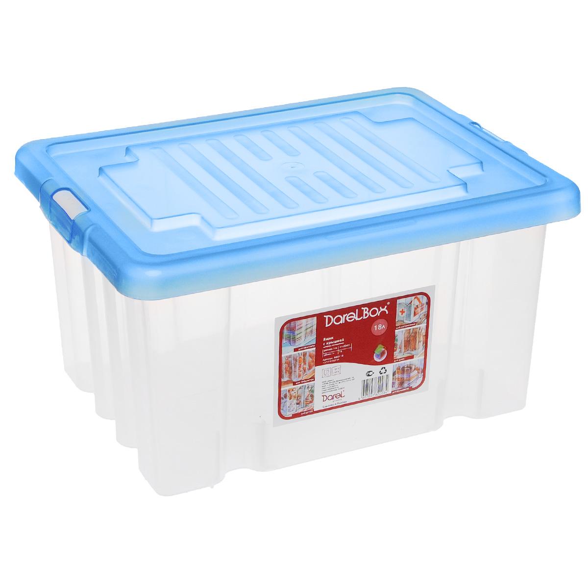 Ящик Darel Box, с крышкой, цвет: синий, прозрачный, 18 лЯФ0118Ящик Darel Box, изготовленный из прозрачного пластика, оснащен плотно закрывающейся крышкой. Изделие предназначено для хранения различных бытовых вещей. Идеально подойдет для хранения белья, продуктов, игрушек. Будет незаменим на даче, в гараже или кладовой. Выдерживает температурные перепады от -25°С до +95°С. Размер ящика: 40 см х 30 см х 21 см.