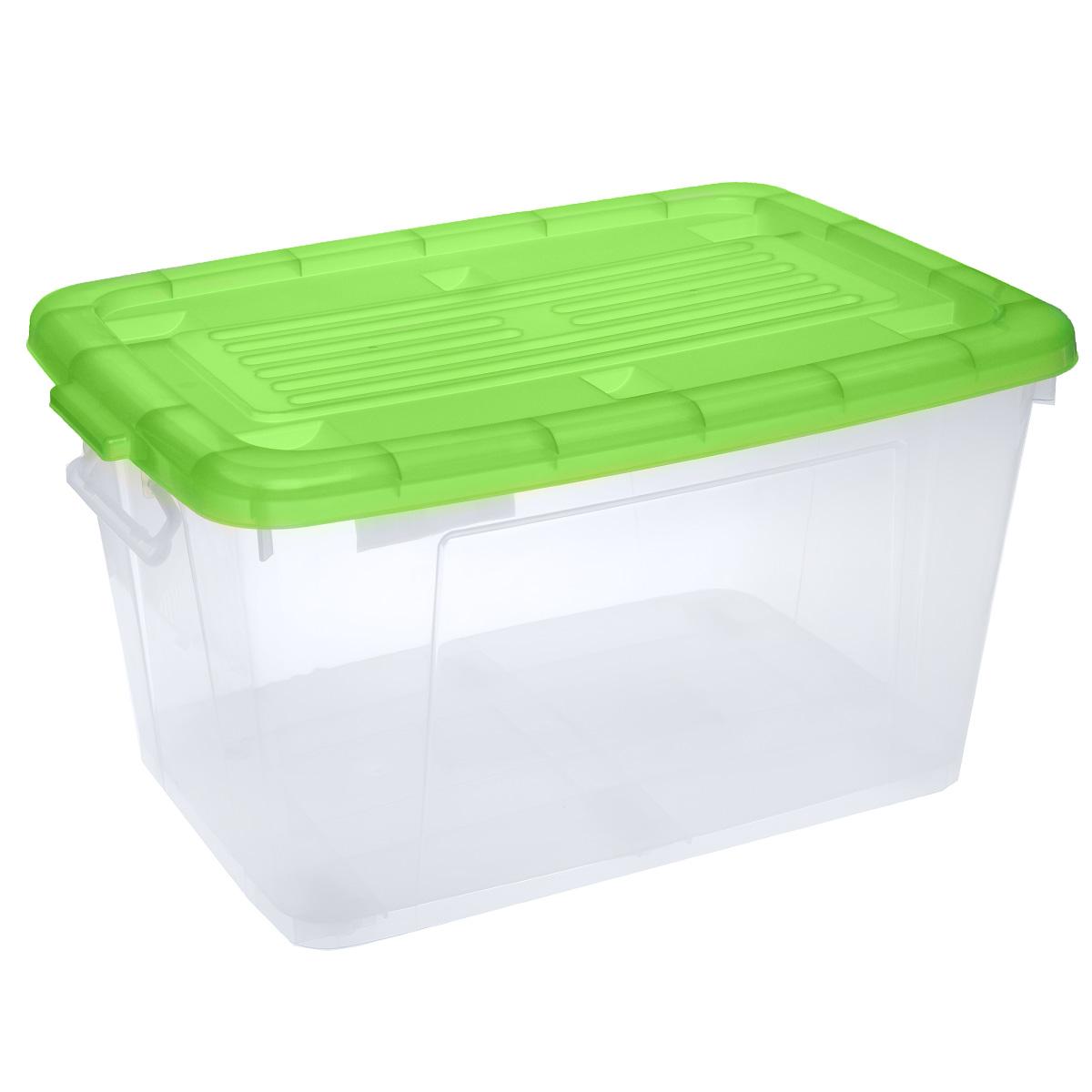 Ящик Darel Box, с крышкой, цвет: прозрачный, зеленый, 75 л10503Ящик Darel Box, изготовленный из прозрачного пластика, оснащен ручками и плотно закрывающейся крышкой. Изделие предназначено для хранения различных бытовых вещей. Идеально подойдет для хранения белья, продуктов, игрушек. Будет незаменим на даче, в гараже или кладовой. Выдерживает температурные перепады от -25°С до +95°С. Изделие имеет четыре маленьких колесика, обеспечивающих удобство перемещения ящика. Размер ящика: 68 см х 47 см х 37 см.