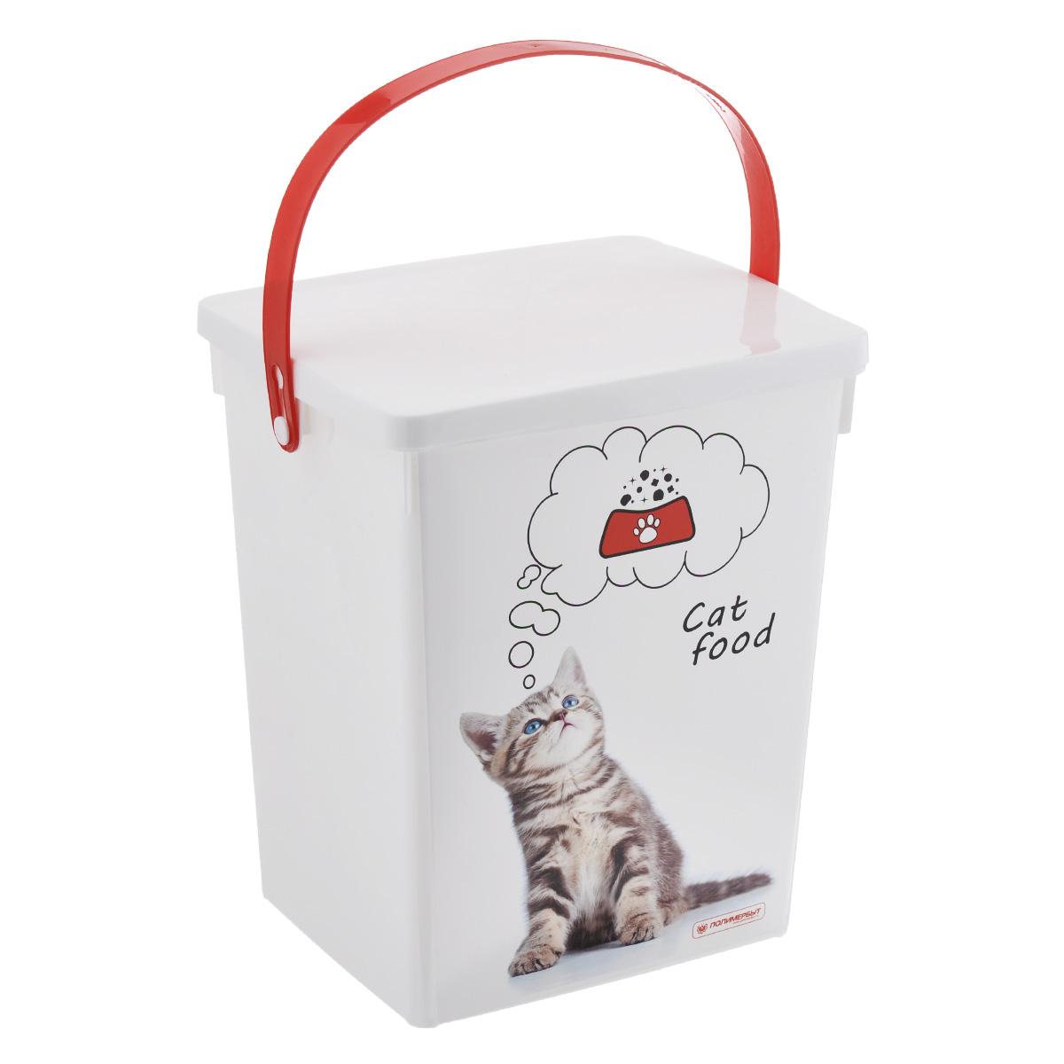 Контейнер для хранения корма Полимербыт Cat Food, цвет: белый, красный, 5 лС49302Контейнер Полимербыт, изготовленный из высококачественного пластика, предназначен для хранения корма для животных. Контейнер оснащен ручкой, благодаря которой можно без проблем переносить с места на место. В таком контейнере корм останется всегда свежим.