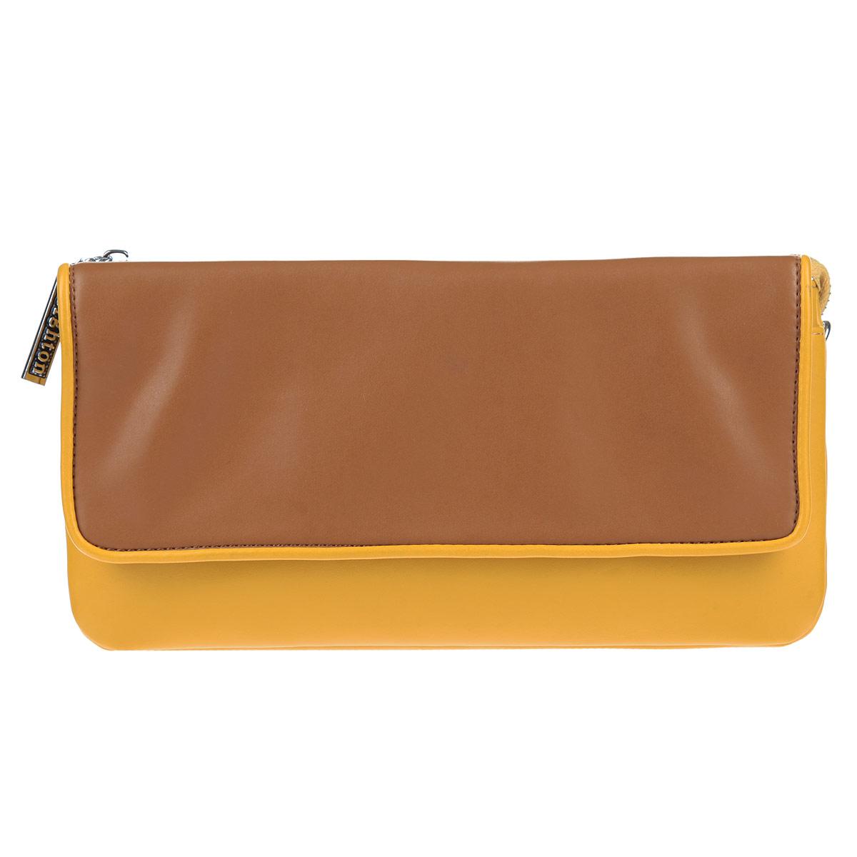 Клатч Leighton, цвет: желтый, коричневый. 4001-082/335/082/8404001-082/335/082/840 жел/Элегантный клатч Leighton выполнен из искусственной кожи с гладкой внешней поверхностью и декорирован металлической фурнитурой. Модель имеет два отделения, закрывающихся на общую застежку-молнию. Между отделениями расположен смежный кармашек на молнии и шесть наборных кармашков для визиток или кредитных карт. Лицевая сторона клатча дополнена плоским накладным карманом, закрывающимся при помощи клапана на магниты. Клатч имеет съемный плечевой ремень, длина которого регулируется, и ремешок для запястья. Модный клатч из летней коллекции от бренда Leighton идеально дополнит ваш образ и создаст игривое настроение.
