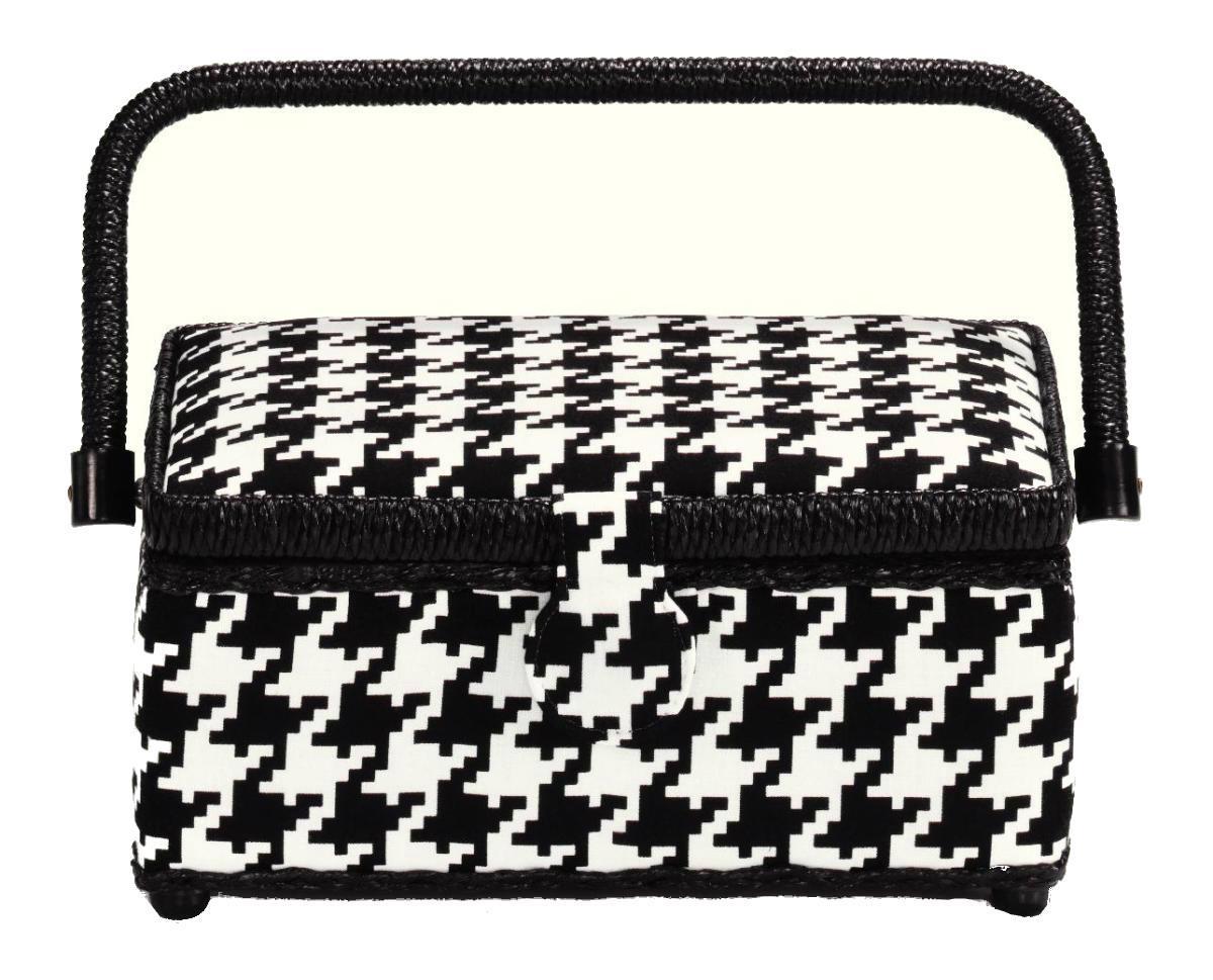 Шкатулка для рукоделия Glencheck, цвет: черный, белый, 24 см х 16 см х 11 см612289Шкатулка для рукоделия Glencheck , станет чудесным подарком для рукодельницы. Порадуйте женщин незаменимой шкатулкой Glencheck от производителя Prym.