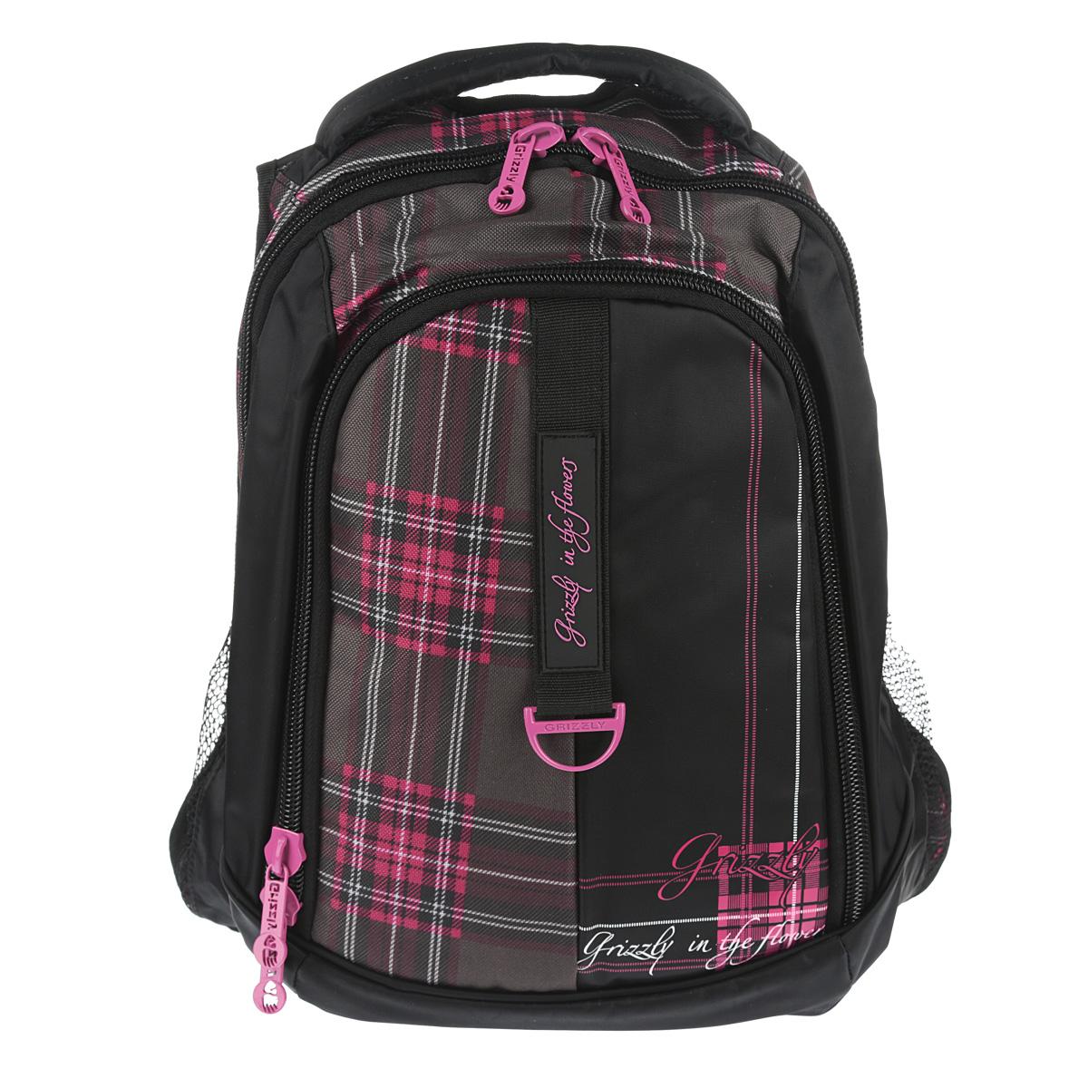 Рюкзак городской Grizzly, цвет: клетка фуксия, 24 л. RD-521-1/622-0570 SРюкзак с двумя отделениями, боковыми карманами с сеткой, карманом-пеналом, укрепленными лямками и спинкой