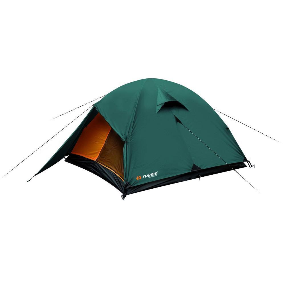 Палатка трехместная Trimm OHIO 2, цвет: зеленыйR36948Палатка Trimm OHIO – модель туристической палатки серии Outdoor с внешним тентом зеленого цвета, имеющая 2 тамбура. Она прекрасно подойдет для сезона весна/осень. Данное изделие будет интересно, в первую очередь, туристам, рыбакам, охотникам, да и просто любителям активного отдыха. Внешний тент из 100% полиэстера, водонепроницаемостью 3000 мм водного столба. Дно на основе армированного полиэтилена водонепроницаемостью 3000 мм водного столба. Палатка OHIO относится к бюджетной серии Outdoor, подходящей для неприхотливого пользователя. Отличительная черта данной модели – трехстержневой каркас, благодаря которому она устойчива к порывам ветра. В палатке могут достаточно комфортно устроиться 2 человека, но можно поместиться и втроем, однако, уровень комфорта при этом существенно снизится.