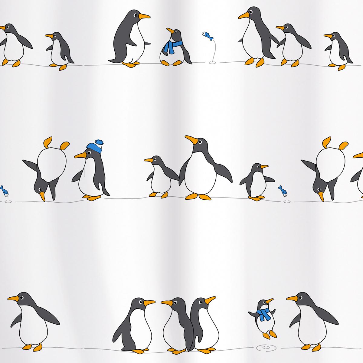 Штора для ванной комнаты Tatkraft Penguins, 180 х 180 см18648Штора для ванной комнаты Tatkraft Penguins выполнена из полиэстера с водоотталкивающим и антигрибковым покрытием. Изделие быстро высыхает и легко стирается. Штора украшена изображением пингвинов. В комплекте прилагаются 12 фигурных пластиковых колец. Штора оснащена магнитами-утяжелителями для наибольшего комфорта. Можно стирать в стиральной машине при температуре 40°С.