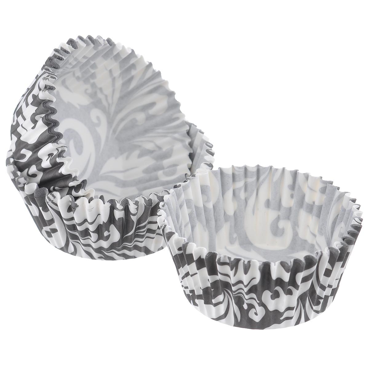 Набор бумажных форм для кексов Dolce Arti Черный узор, цвет: черный, белый, диаметр 7 см, 50 штDA080201Набор Dolce Arti Черный узор состоит из 50 бумажных форм для кексов, оформленных оригинальным узором. Они предназначены для выпечки и упаковки кондитерских изделий, также могут использоваться для сервировки орешков, конфет и многого другого. Для одноразового применения. Гофрированные бумажные формы идеальны для выпечки кексов, булочек и пирожных. Высота стенки: 3 см. Диаметр (по верхнему краю): 7 см. Диаметр дна: 5 см.