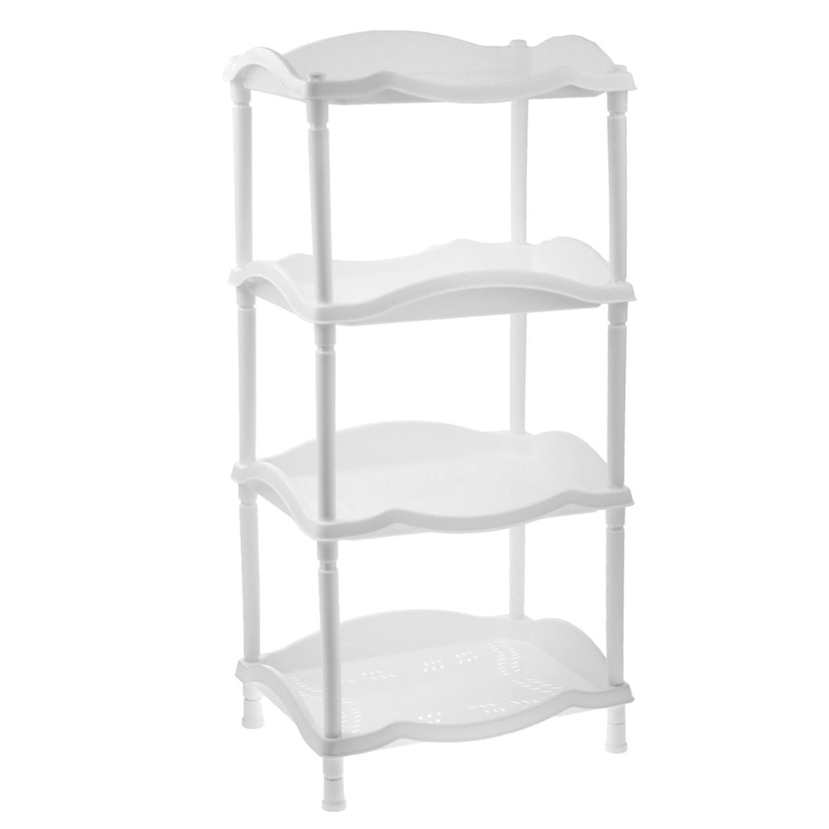Этажерка Berossi Каскад, 4-х секционная, цвет: белый, 43,8 см х 31,6 см х 89,2 смА14201Этажерка Berossi Каскад выполнена из высококачественного прочного пластика и предназначена для хранения различных предметов. Изделие имеет 4 полки прямоугольной формы с перфорированными стенками. В ванной комнате вы можете использовать этажерку для хранения шампуней, гелей, жидкого мыла, стиральных порошков, полотенец и т.д. Ручной инструмент и детали в вашем гараже всегда будут под рукой. Удобно ставить банки с краской, бутылки с растворителем. В гостиной этажерка позволит удобно хранить под рукой книги, журналы, газеты. С помощью этажерки также легко навести порядок в детской, она позволит удобно и компактно хранить игрушки, письменные принадлежности и учебники. Этажерка - это идеальное решение для любого помещения. Она поможет поддерживать чистоту, компактно организовать пространство и хранить вещи в порядке, а стильный дизайн сделает этажерку ярким украшением интерьера. Размер этажерки (ДхШхВ): 43,8 см х 31,6 см х 89,2 см. ...