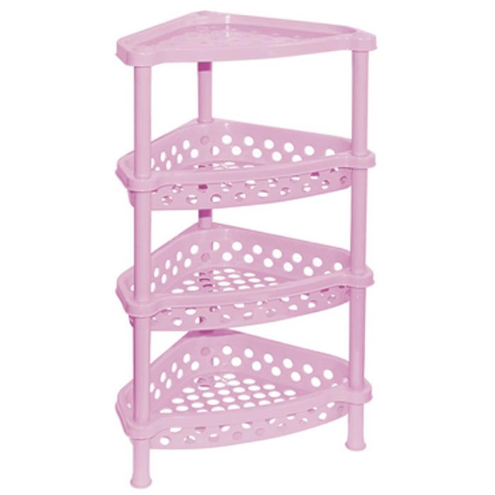Этажерка угловая Violet, 4-х секционная, цвет: розовый, 37 х 28 х 73 смS03301004Этажерка Violet выполнена из высококачественного прочного пластика и предназначена для хранения различных предметов. Изделие имеет 4 полки треугольной формы с перфорированными стенками. В ванной комнате вы можете использовать этажерку для хранения шампуней, гелей, жидкого мыла, стиральных порошков, полотенец и т.д. Ручной инструмент и детали в вашем гараже всегда будут под рукой. Удобно ставить банки с краской, бутылки с растворителем. В гостиной этажерка позволит удобно хранить под рукой книги, журналы, газеты. С помощью этажерки также легко навести порядок в детской, она позволит удобно и компактно хранить игрушки, письменные принадлежности и учебники. Этажерка - это идеальное решение для любого помещения. Она поможет поддерживать чистоту, компактно организовать пространство и хранить вещи в порядке, а стильный дизайн сделает этажерку ярким украшением интерьера.Размер этажерки (ДхШхВ): 37 см х 28 см х 73 см. Размер полки (ДхШхВ): 37 см х 28 см х 7,5 см.