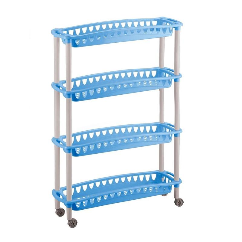 Этажерка Бытпласт Джулия, 4-х секционная, на колесиках, цвет: голубой, 59 х 18 х 73 смС12414Этажерка Бытпласт Джулия выполнена из высококачественного прочного пластика и предназначена для хранения различных предметов. Изделие имеет 4 полки прямоугольной формы с перфорированными стенками. Благодаря колесикам этажерку можно перемещать в любую сторону без особых усилий. В ванной комнате вы можете использовать этажерку для хранения шампуней, гелей, жидкого мыла, стиральных порошков, полотенец и т.д. Ручной инструмент и детали в вашем гараже всегда будут под рукой. Удобно ставить банки с краской, бутылки с растворителем. В гостиной этажерка позволит удобно хранить под рукой книги, журналы, газеты. С помощью этажерки также легко навести порядок в детской, она позволит удобно и компактно хранить игрушки, письменные принадлежности и учебники. Этажерка - это идеальное решение для любого помещения. Она поможет поддерживать чистоту, компактно организовать пространство и хранить вещи в порядке, а стильный дизайн сделает этажерку...