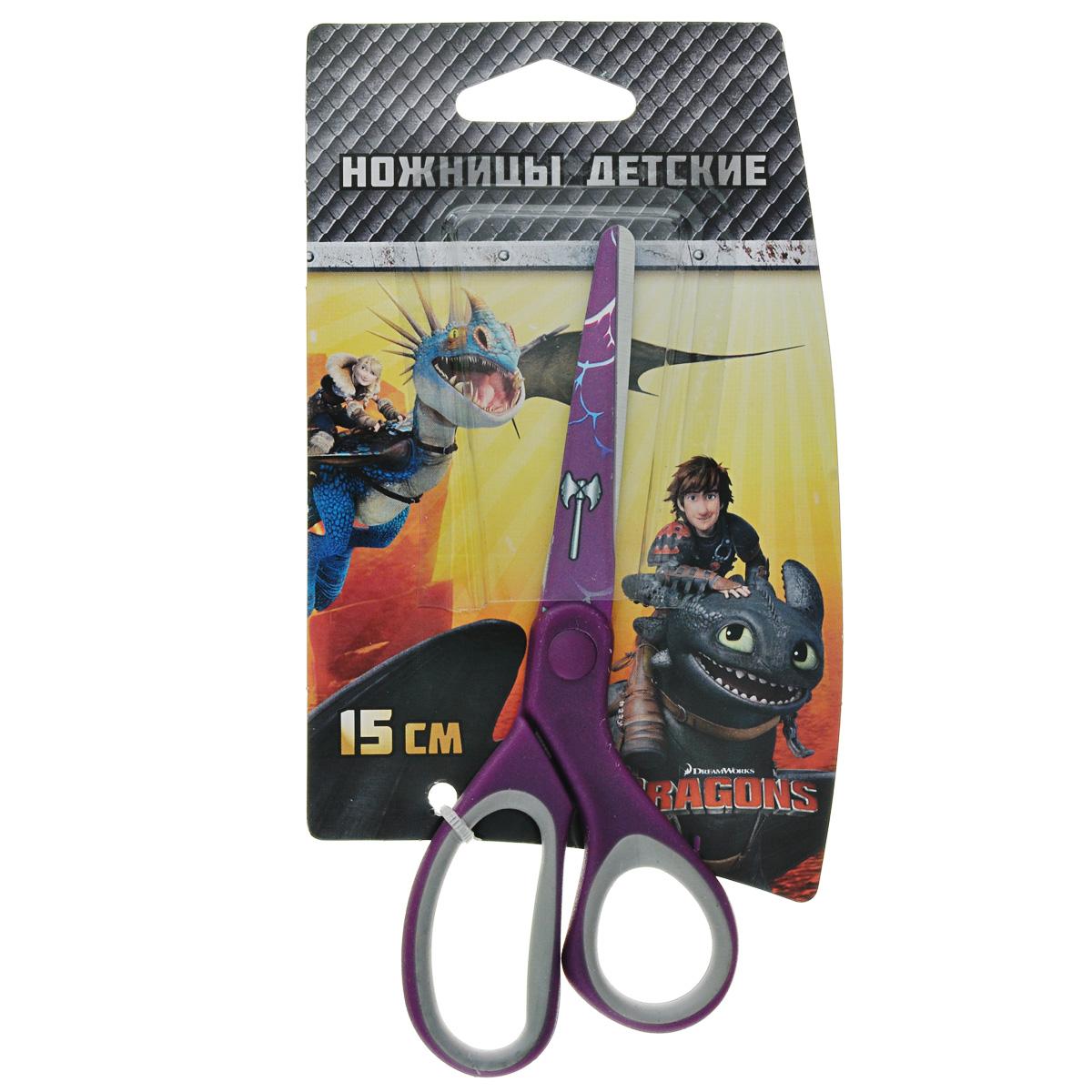 Ножницы детские Action Dragons, цвет: фиолетовый, 15 смC37329/DR-ASC265_фиолетовыйДетские ножницы Action Dragons с безопасными закругленными лезвиями изготовлены из высококачественной нержавеющей стали. Лезвия с наружной стороны оформлены декоративным рисунком. Облегченные ручки ножниц адаптированы для детской руки. Вашему ребенку будет настоящим удовольствием делать с ножницами Action Dragons различные аппликации из бумаги или других материалов.