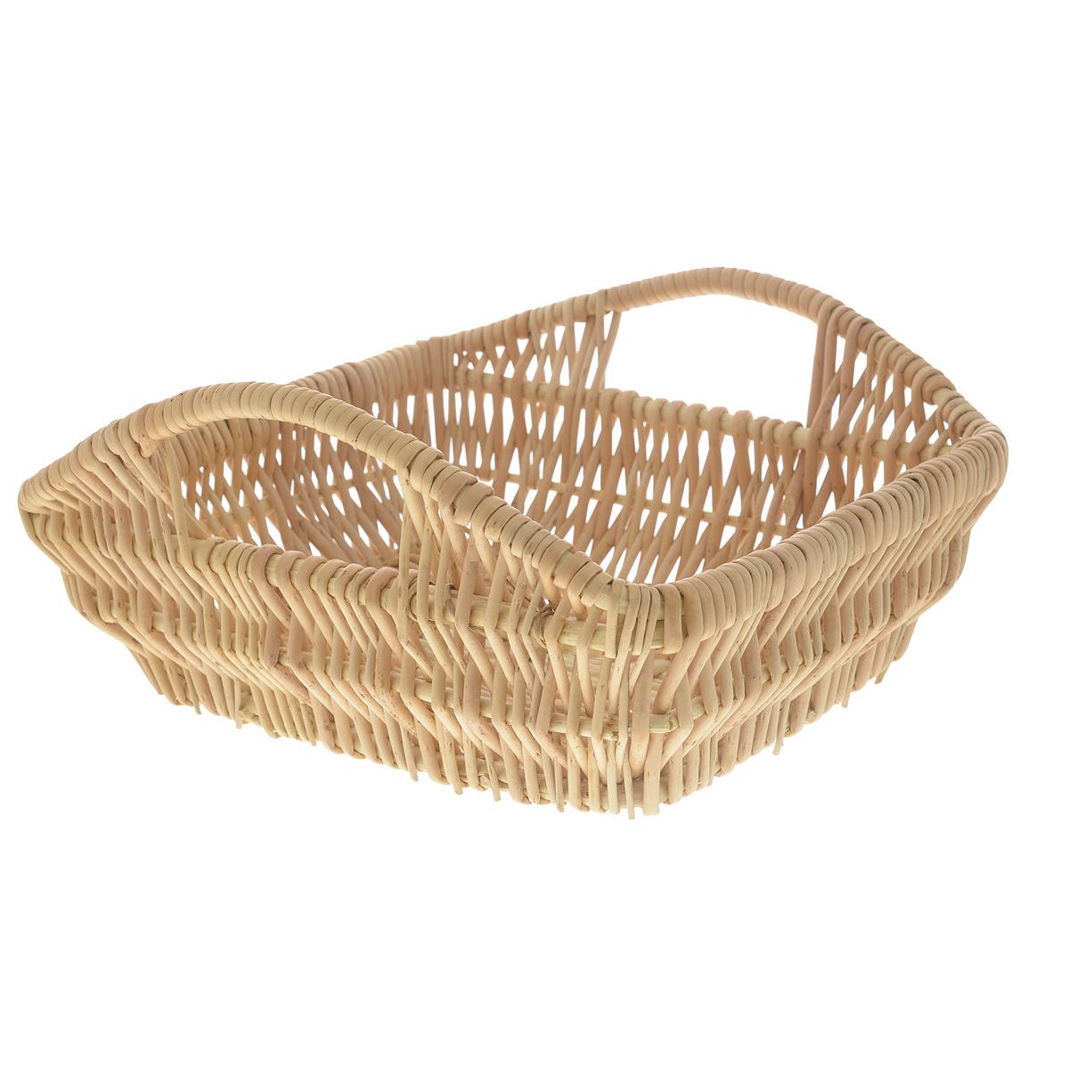 Корзина Kesper, 29 см х 23 см х 9,5 см1983-6Прямоугольная корзина Kesper изготовлена из натурального плетеного волокна. Она предназначена для хранения фруктов, хлеба, а также мелочей дома или на даче. Позволяет хранить мелкие вещи, исключая возможность их потери. Изделие оснащено удобными ручками. Корзина очень вместительная. Элегантный выдержанный дизайн позволяет органично вписаться в ваш интерьер и стать его элементом. Материал: натуральное волокно. Размер корзины по верхнему краю (без учета ручек): 29 см х 23 см. Размер корзины по верхнему краю (с учетом ручек): 29 см х 29 см. Высота корзины (без учета ручек): 9,5 см.