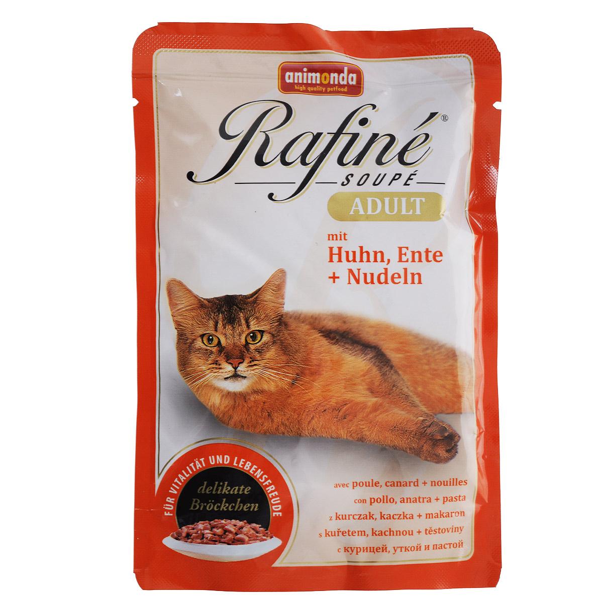 Консервы для кошек Animonda Rafine Soupe Adult, с курицей, уткой и пастой, 100 г0120710Линия консервированного полноценного питания Rafine Soupe Adult создана для рафинированных гурманов в кошачьем царстве. Вся продукция этой линии содержит тщательно сбалансированную комбинацию жизненно важных витаминов и минералов. Состоит из специально отобранных сортов мяса. Не содержит сои, искусственных красителей и консервантов. мясо и субпродукты животного происхождения. Нежное мясо птицы - источник протеина, необходимого кошке оставаться в отличной физической форме. Настоящая паста из твердых сортов пшеницы нормализует процессы пищеварения и микрофлору кишечника.Состав: мясо и мясные продукты (курица 20%, утка 10%), макаронные изделия (паста 4%), злаки, минералы. Анализ: белок 8%, жир 5%, клетчатка 0,3%, зола 2%, влажность 81%. Полноценное консервированное питание для взрослых кошек высшего качества.Добавки на 1 кг продукта: витамин D3 250 МЕ, медь 2 мг, цинк 5 мг, марганец 1,5 мг, йод 0,5 мг. Вес: 100 г. Товар сертифицирован.