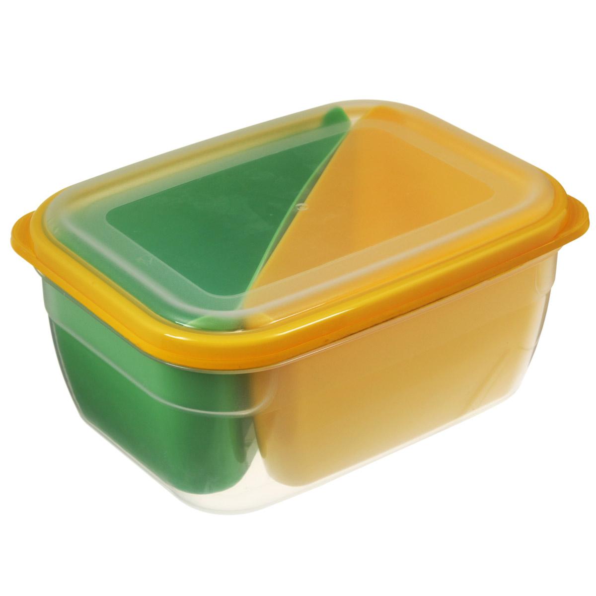 Контейнер-менажница для СВЧ Полимербыт, цвет: зеленый, желтый, 1,8 лС56401Контейнер-менажница для СВЧ Полимербыт изготовлен из высококачественного прочного пластика, устойчивого к высоким температурам (до +120°С). Крышка плотно закрывается, дольше сохраняя продукты свежими и вкусными. Контейнер снабжен 2 цветными секциями, которые позволяют хранить сразу несколько продуктов или блюд. Он идеально подходит для хранения пищи, его удобно брать с собой на работу, учебу, пикник или просто использовать для хранения пищи в холодильнике. Можно использовать в микроволновой печи и для заморозки в морозильной камере. Можно мыть в посудомоечной машине. Размер секции: 9 см х 18,5 см х 7,5 см. Размер контейнера: 19,5 см х 14,5 см х 9 см.