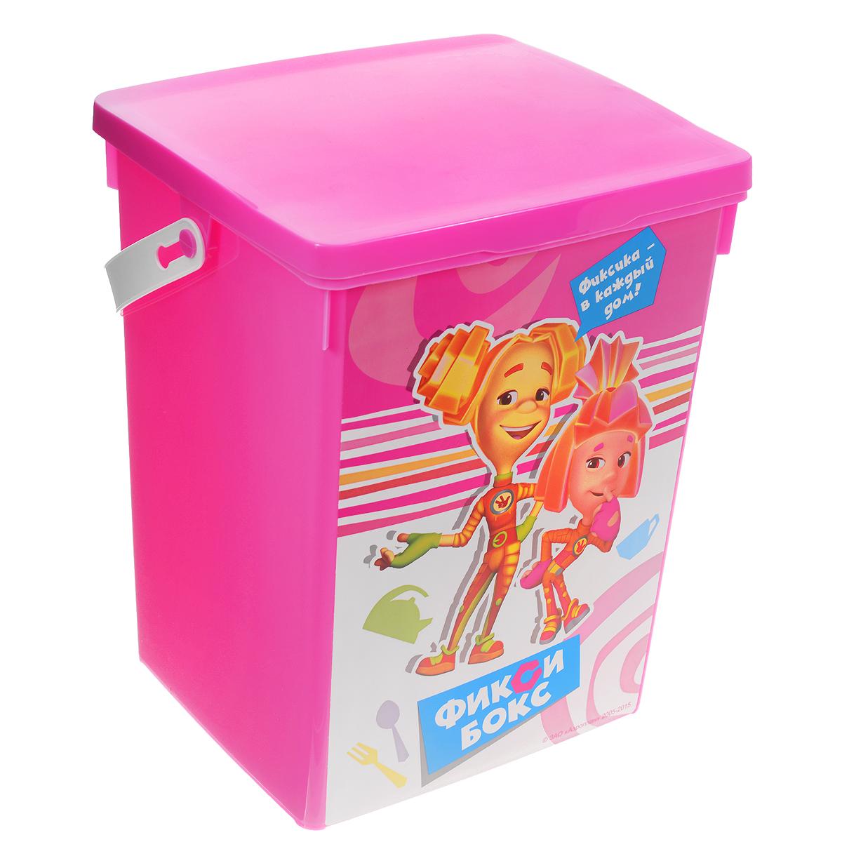 Контейнер для игрушек Полимербыт Фиксики, цвет: розовый, 5 лС49322Контейнер Полимербыт Фиксики выполнен из высококачественного цветного пластика и предназначен для хранения небольших игрушек. Контейнер декорирован красочным изображением героев одноименного мультика Фиксики. Для удобства переноски имеется специальная пластиковая ручка. Контейнер плотно закрывается крышкой. Контейнер Полимербыт Фиксики очень вместителен и поможет вам хранить все необходимые мелочи в одном месте.