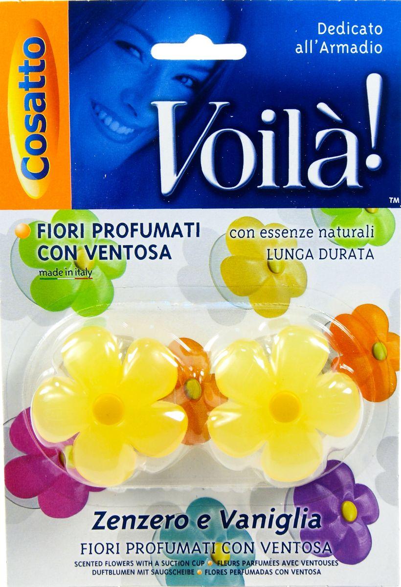 Ароматизатор для шкафа Цветы. Имбирь и ваниль, на присоске, 2 шт. COVLPBF001COVLPBF001Ароматизаторы представляют собой ароматизированную смолу из натуральных цветочных эссенций в форме цветка на прозрачной присоске. Обладают длительным действием и долго не выветриваются. Безопасны в применении. Пригодны для крепления к любой вертикальной ровной глянцевой поверхности, будь то стекло, зеркало или пластик. Можно использовать в жилых помещениях (спальная и гостиная комнаты, ванная, гардероб), шкафах и комодах. Также применимо как ароматизатор в автомобиле. Во избежание окрашивания не рекомендуется прислонять цветную поверхность ароматизатора к вещам и одежде. Беречь от высоких температур. Хранить в недоступном для маленьких детей месте. Устойчивый приятный запах в ассортименте: шесть различных ароматов - от имбиря и ванили до тиарэ.