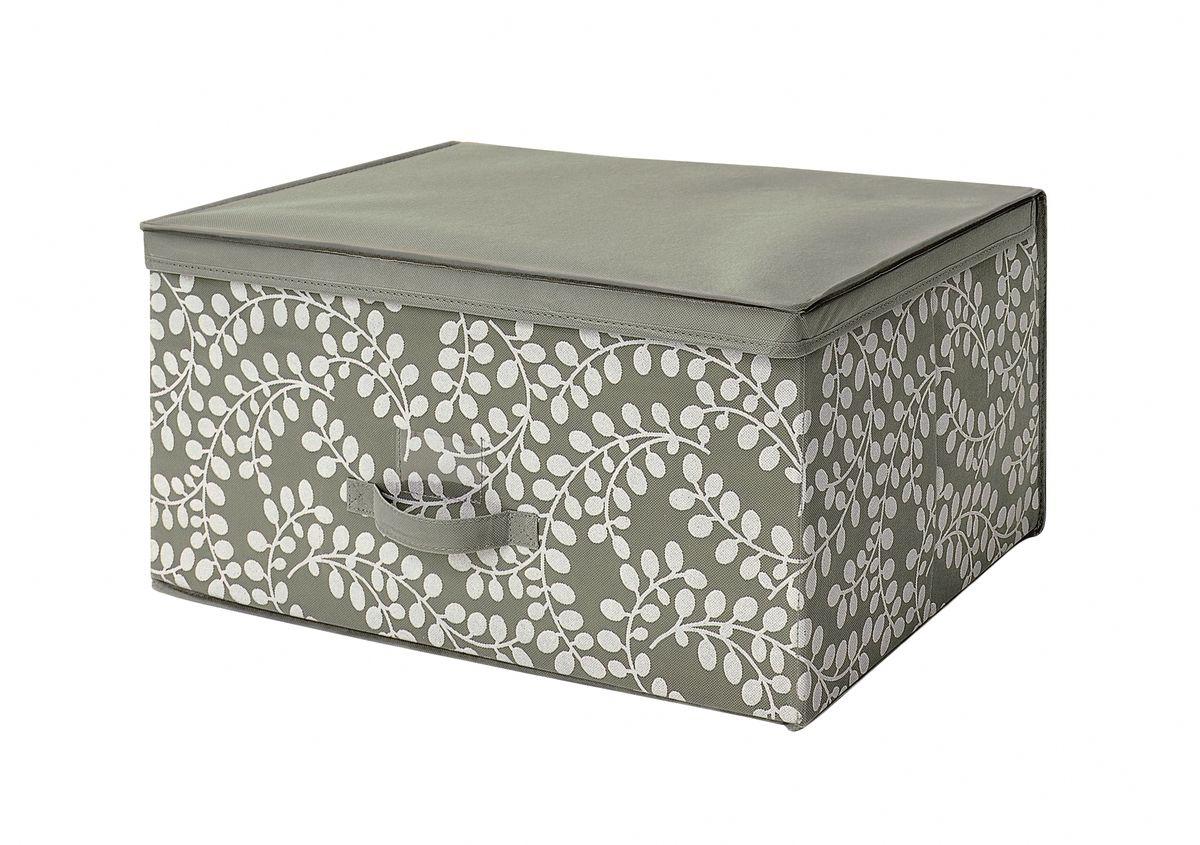 Чехол-коробка 60х45х30 см Флораль. COVLSCTF03COVLSCTF03Складывающийся чехол из дышащего нетканого материала (полипропилен), безопасного в использовании, для хранения габаритной одежды, толстых пуховых одеял, др. вещей. Представляет собой закрывающуюся крышкой коробку жесткой конструкции благодаря наличию внутри плотных листов картона. Пропускает воздух, но при этом надежно защищает от пыли, моли и солнечных лучей. Имеет удобную ручку для переноски.