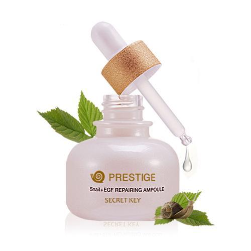 Secret Key Востанавливающая сыворотка для лица Prestige Snail+EGF Repairing Ampoule 30 мл91257Антивозрастная сыворотка Secret Key с экстрактом улиточной слизи создана для осветления и глубокого увлажнения, сокращает морщины, подтягивает и питает кожу. Одобрена KFDA как эффективное средство против морщин+отбеливание. Поддерживает водный баланс, используя фильтрат слизи виноградной улитки, полученному благодаря природе, защищает кожу от неблагоприятных воздействий внешней среды. Регенерация кожи происходит посредством ускорения роста клеток, так как компоненты проникают прямиком в дерму. Эта ампула рекомендуется для чувствительной кожи, в ее состав не входят вещества, которые ей вредят (парабены, нефтепродукты, бензофенон, животные жиры, искусственные красители).