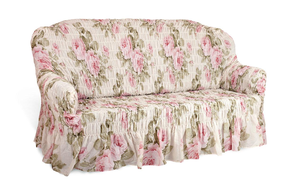"""Чехол на 2-х местный диван Еврочехол """"Фантазия"""", цвет: светло-зеленый, розовый, белый, 100-160 см 2/8-2"""