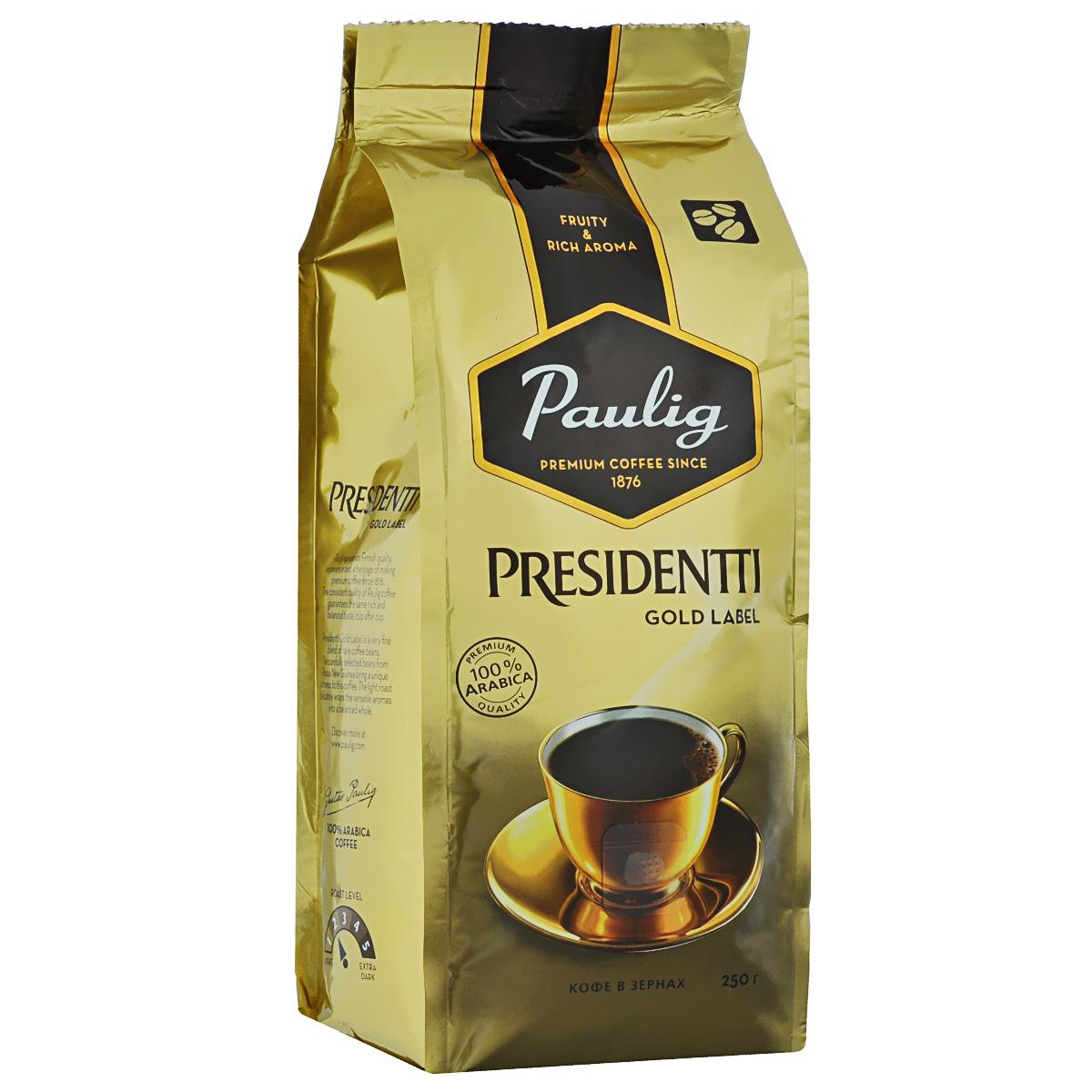 Paulig Presidentti Gold Label кофе в зернах, 250 г101246Paulig Presidentti Gold Label - уникальный кофе, приготовленный из смеси редких кофейных зерен. Тщательно отобранные кофейные зерна из Папуа – Новой Гвинеи дарят напитку мягкий, бархатистый вкус. Благодаря легкой обжарке достигается богатый, неповторимый аромат.