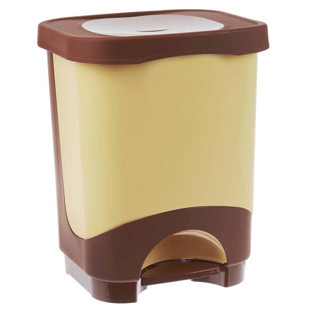 Мусорное ведро Эльфпласт Бинго, с педалью, цвет: бежевый, коричневый, 18 л203Мусорное ведро Эльфпласт Бинго изготовлено из прочного пластика. Ведро оснащено съемным контейнером, что позволит удобно выносить мусор и поддерживать чистоту. С помощью специальной педали не нужно открывать крышку руками, она поднимается сама. Ведро компактное, практичное и функциональное. Идеальный вариант для любых помещений: ванны, кухни, туалета.