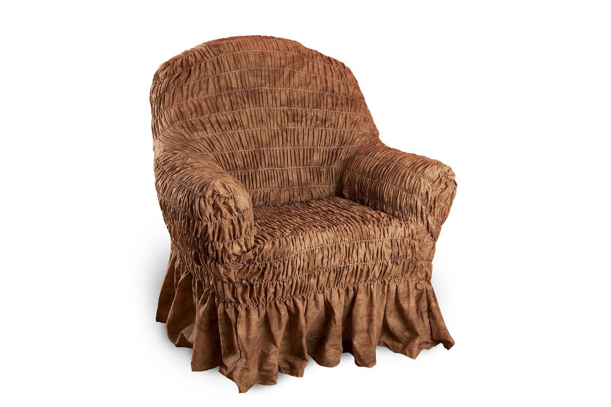 Чехол на кресло Еврочехол Фантазия, цвет: шоколадный, 60-100 см54 009303Чехол на кресло Еврочехол Фантазия выполнен из 50% хлопка, 50% полиэстера. Он защитит вашу мебель от ежедневных воздействий. Натуральный состав ткани гипоаллергенен, а потому безопасен для малышей или людей пожилого возраста. Чехол в классическом цветовом исполнении - один из самых востребованных. Наличие оборки (юбки) по нижнему краю чехла придает мебели особое очарование, изюминку, привнося в интерьер помещения уют, свежесть, легкость и мягкость. Неважно, в каком стиле выполнена обстановка (это может быть классический интерьер, либо скандинавского стиля, или даже в колониальных мотивах), чехол чудесно дополнит стилистику любого интерьера - от ретро до современности. Гостиная, детская, кухня, прихожая или спальня - с таким чехлом любая комната наполнится нежностью и любовью.Растяжимость чехла по спинке (без учета подлокотников): 60-100 см.