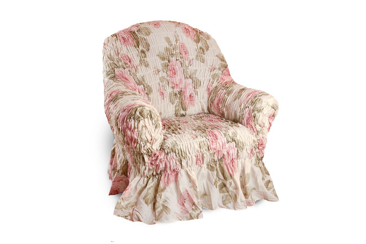 Чехол на кресло Еврочехол Фантазия, 60-100 см2/8-1Чехол на кресло Еврочехол Фантазия выполнен из 50% хлопка, 50% полиэстера. Он защитит вашу мебель от ежедневных воздействий. Натуральный состав ткани гипоаллергенен, а потому безопасен для малышей или людей пожилого возраста. Чехол в классическом цветовом исполнении - один из самых востребованных. Наличие оборки (юбки) по нижнему краю чехла придает мебели особое очарование, изюминку, привнося в интерьер помещения уют, свежесть, легкость и мягкость. Неважно, в каком стиле выполнена обстановка (это может быть классический интерьер, либо скандинавского стиля, или даже в колониальных мотивах), чехол чудесно дополнит стилистику любого интерьера - от ретро до современности. Гостиная, детская, кухня, прихожая или спальня - с таким чехлом любая комната наполнится нежностью и любовью. Растяжимость чехла по спинке (без учета подлокотников): 60-100 см.