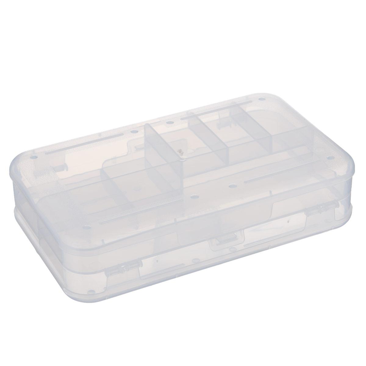 Органайзер Бытпласт, двухсторонний, цвет: прозрачный, 22,5 х 13,5 х 5,3 смС12667Органайзер  Бытпласт , выполненный из прочного пластика, предназначен для хранения различных мелких вещей. С каждой стороны органайзера находятся 3 маленьких, 1 средний и 1 большое отделения. Прозрачная поверхность позволяет видеть содержимое органайзера. По обеим сторонам органайзера имеются небольшие выступы, благодаря которым поверхность органайзера не царапается. Удобный и надежный замок-защелка обеспечивает надежное закрывание крышки. Органайзер легко моется и чистится. Размеры отделений: Размер большого отделения: 20,8 см х 5,8 см х 1,8 см; Размер среднего отделения: 10,3 см х 5,8 см х 2,6 см; Размер малого отделения: 3,3 см х 5,8 см х 1 см.