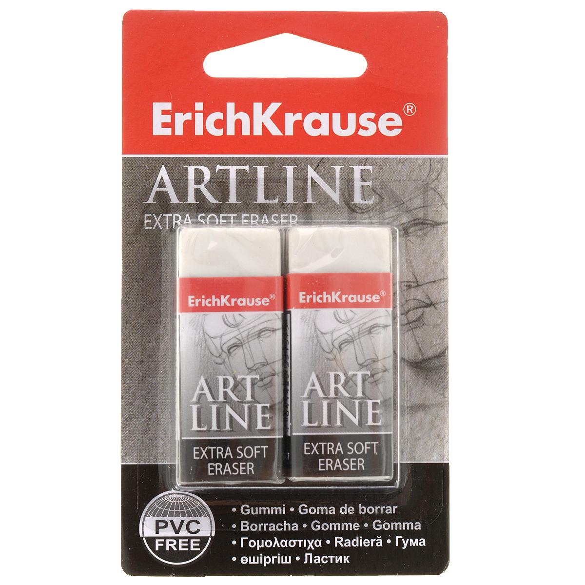 Набор ластиков Erich Krause Artlane, 2 шт84701ОНабор ластиков Erich Krause Artlaneстанет незаменимым аксессуаром на рабочем столе не только школьника или студента, но и офисного работника. Он прекрасно удаляет линии, оставленные карандашами. При стирании стружка от ластика скатывается в единый комок, а не рассыпается по всей поверхности бумаги. В комплекте два ластика.