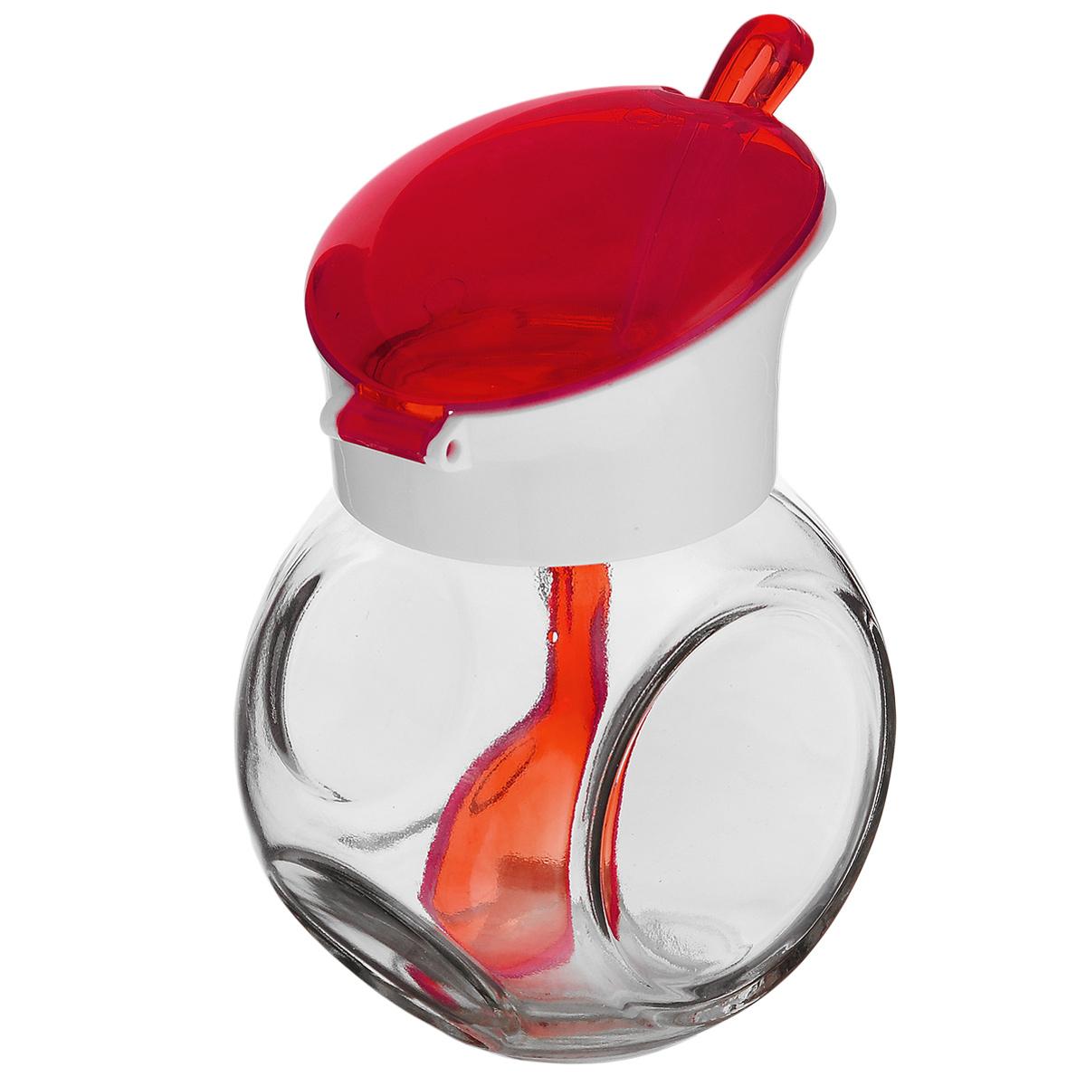 Емкость для соуса Herevin, с ложкой, цвет: красный, белый, 225 млVT-1520(SR)Емкость для соуса Herevin изготовлена из прочного стекла. Банка оснащена пластиковой откидной крышкой и ложкой. Изделие предназначено для хранения различных соусов. Функциональная и вместительная, такая банка станет незаменимым аксессуаром на любой кухне. Можно мыть в посудомоечной машине. Пластиковые части рекомендуется мыть вручную.Диаметр (по верхнему краю): 4,5 см.Высота банки (без учета крышки): 8 см.Длина ложки: 13 см.