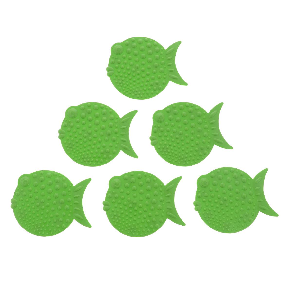 Набор мини-ковриков для ванной Перламутровая рыба, цвет: зеленый, 6 шт837-020Набор Перламутровая рыба включает шесть мини-ковриков для ванной. Изготовлены из PVC (полимерные материалы). Коврики оснащены присосками, предотвращающими скольжение. Крепятся на дно ванны, также можно использовать как декор для плитки. Легко чистить. Комплектация: 6 шт. Материал: 100% полимерные материалы. Размер мини-коврика: 12 см х 9,5 см.