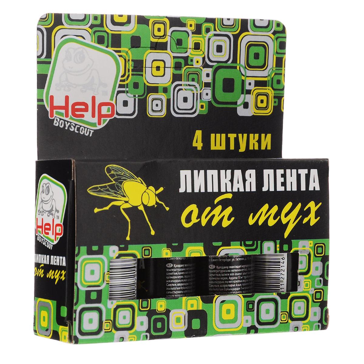 Липкая лента от мух BoyScout Help, 4 шт19201Липкая лента от мух BoyScout Help - это удобное и простое в использовании средство, которое надежно защитит вас и вашу семью от мух в закрытом помещении или значительно снизит их количество на открытом воздухе. Специальный аттрактант является привлекательной приманкой для мух, что делает липкие ленты Help наиболее эффективными. Не содержит веществ, опасных для людей и домашних животных. Для помещения площадью 10 м2 требуется 2-3 липучки.