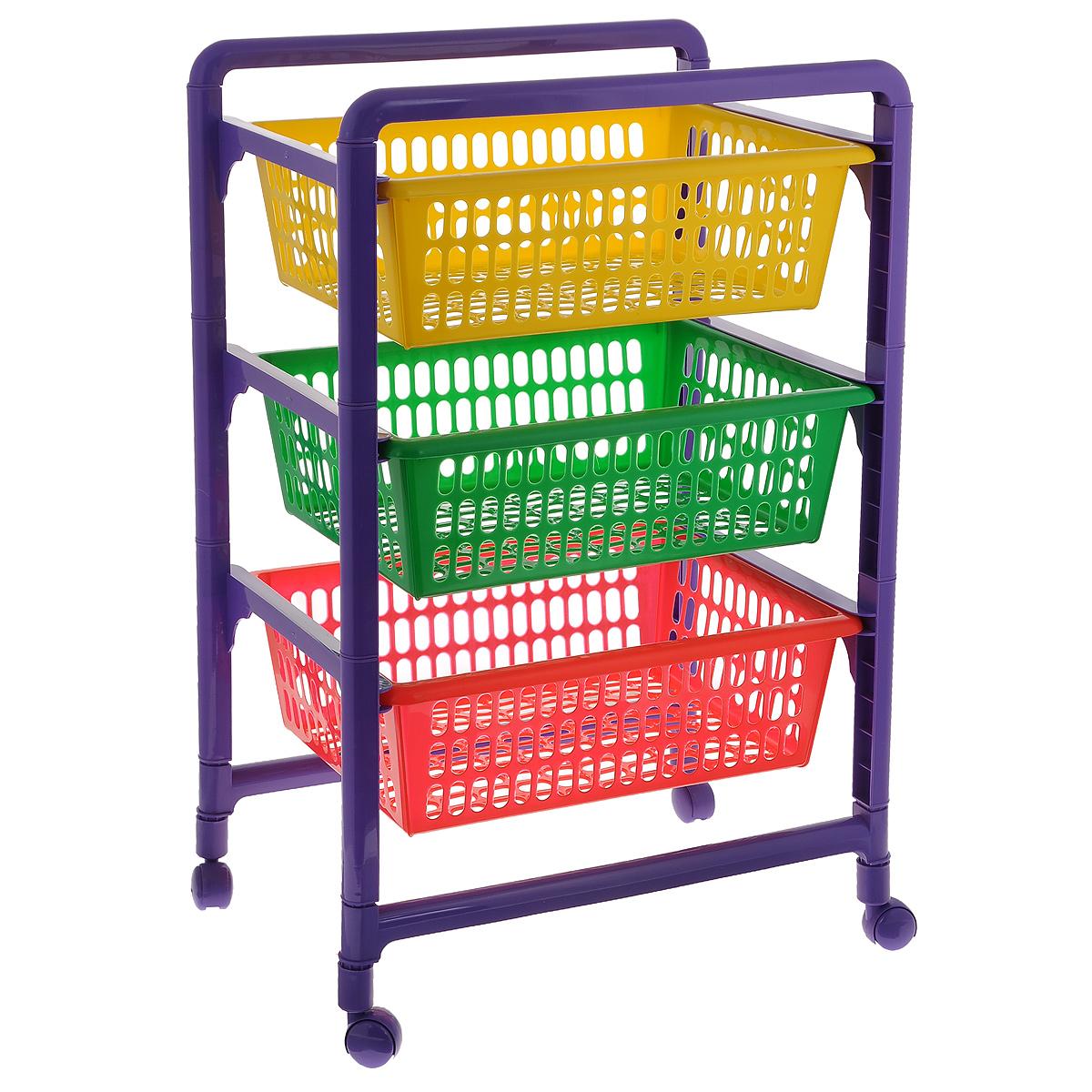 Контейнер для игрушек Малыш, 3-х секционный, на колесиках, с выдвижными полками, 45 x 31,1 x 66,2 смС460Контейнер Малыш, выполненный из высококачественного пластика, предназначен для хранения игрушек. Состоит из трех перфорированных секций разного цвета. Вместительные выдвижные полки позволят компактно хранить детские игрушки, а также защитят их от пыли, грязи и влаги. Контейнер оснащен колесиками, поэтому его очень легко двигать. Размер в сложенном виде: 45 см х 31,1 см х 18 см. Размер в собранном виде: 45 см x 31,1 см x 66,2 см. Размер корзинки: 49,5 см x 30 см x 12 см.
