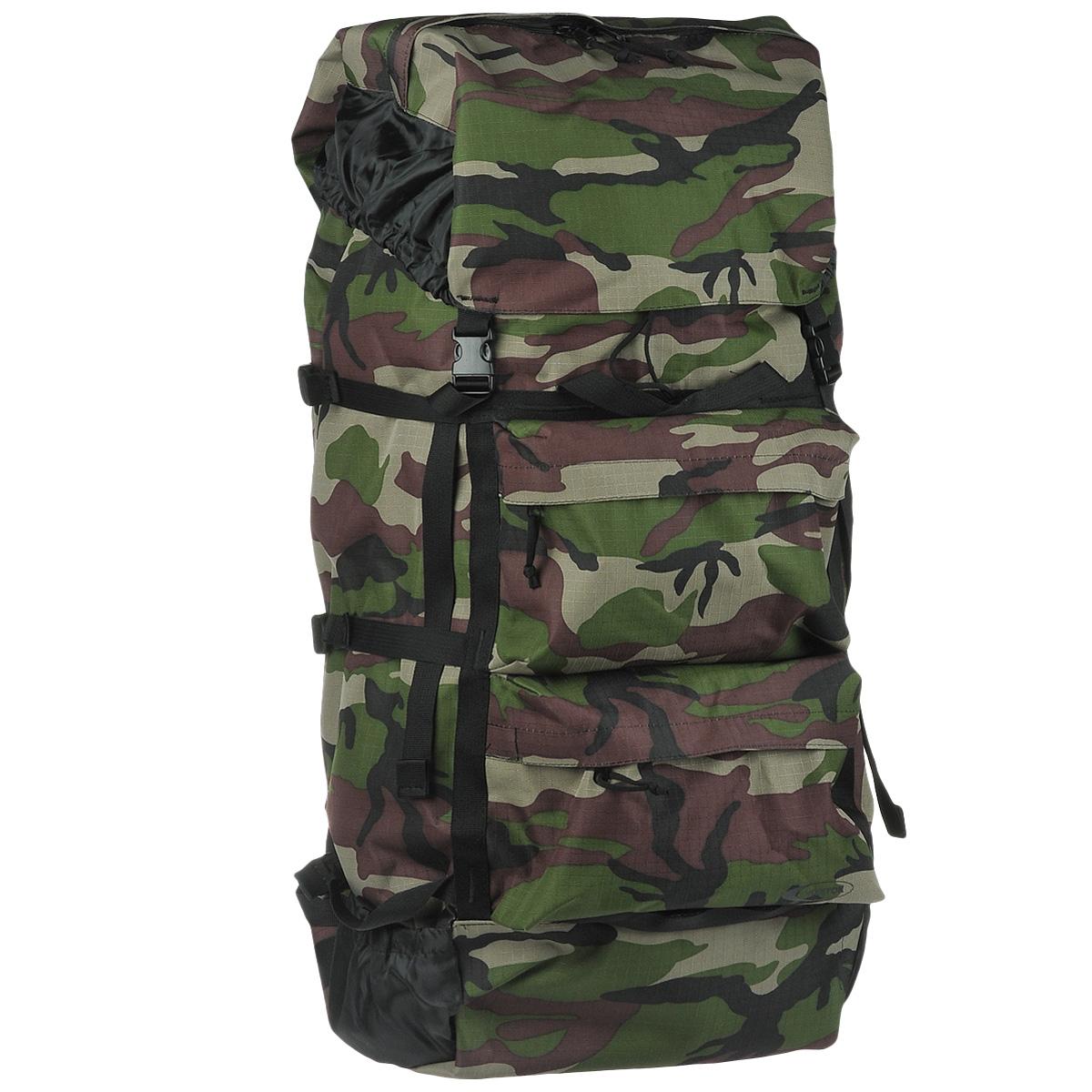 Рюкзак Huntsman Пикбастон, цвет: камуфляж, 100 л800801Huntsman Пикбастон - это мягкий вместительный рюкзак, предназначенный для походов разной категории сложности.Особенности рюкзака:Непромокаемое дноКорпус усилен стропами с шестью боковыми стяжкамиВпереди два кармана на молнии под клапаномС боков маленькие открытые карманы для мелочейВнутри регулируемые лямки со стяжкой и спинка уплотнены вспененным полиэтиленомСверху высокий фартук из капрона, увеличивающий объёмВерх рюкзака и фартук стягиваются шнуром с фиксатором и закрываются клапаном с карманом на молнии на две защёлкиРучка для переноски рюкзака.