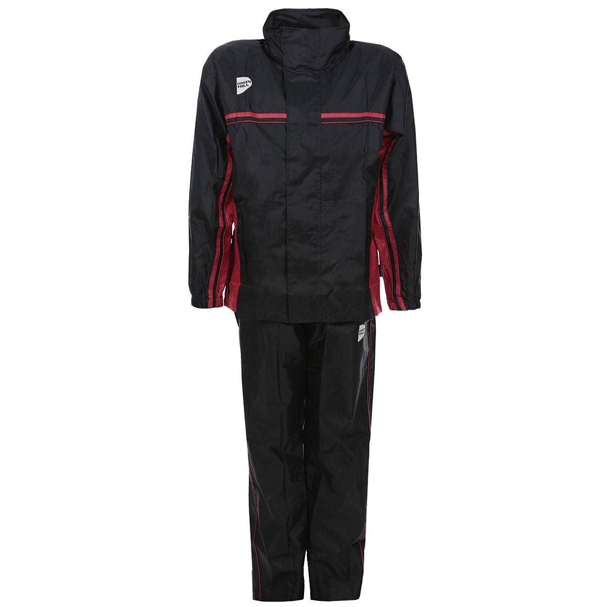 Костюм-сауна Green Hill, цвет: черный, красный. Размер 46LA010301Костюм-сауна Green Hill предназначен для интенсивного сброса веса во время тренировок. Костюм выполнен из полиэстера черного цвета с красными вставками. Состоит из штанов и куртки с длинным рукавом. Пояс и манжеты куртки и штанов на резинках, что обеспечивает более плотное прилегание к телу. Куртка застегивается на застежку-молнию и липучки, имеет капюшон, убирающийся в воротник, и два кармана на молнии. Брюки имеют шнурок на поясе, а также карманы на молнии. Во время физических тренировок костюм создает эффект сауны, что в свою очередь эффективно воздействует на процесс сжигания жира. Поэтому в таком костюме лишний вес будет пропадать намного быстрее, чем в обычной спортивной одежде.