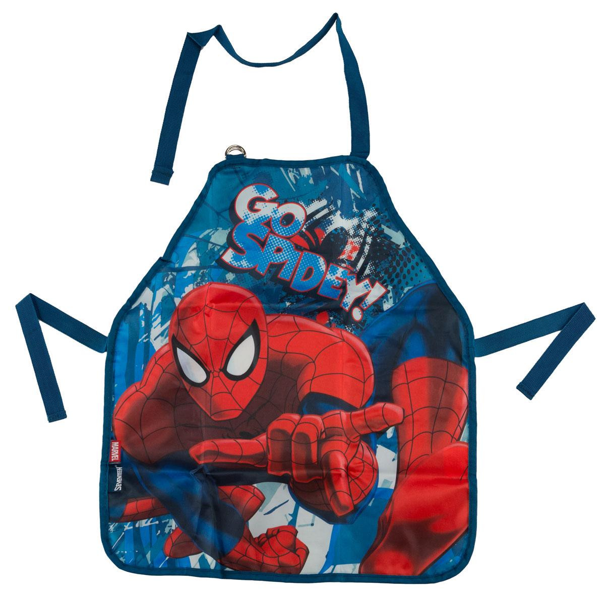 Фартук для детского творчества Spider-Man Classic, цвет: синий. SMCB-MT1-029M72523WDФартук для детского творчества Spider-Man Classic поможет малышу не испачкаться во время домашних хлопот, на уроках труда или изобразительного искусства. Благодаря удобному покрою фартука, ребенок может его самостоятельно надевать и снимать. Лямка на шее регулируется по длине с помощью пряжки. Завязки позволяют зафиксировать фартук на талии. Изделие изготовлено из водонепроницаемого материала, легко стирается, поэтому изделие будет служить очень долго.