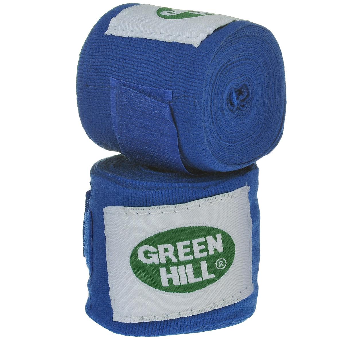 Бинты боксерские Green Hill, эластик, цвет: синий, 3,5 м, 2 штВР-6232-35Бинты Green Hill предназначены для защиты запястья во время занятий боксом. Изготовлены из высококачественного хлопка с добавлением эластана. Бинты надежно закрепляются на руке застежкой на липучке. Длина бинтов: 3,5 м.