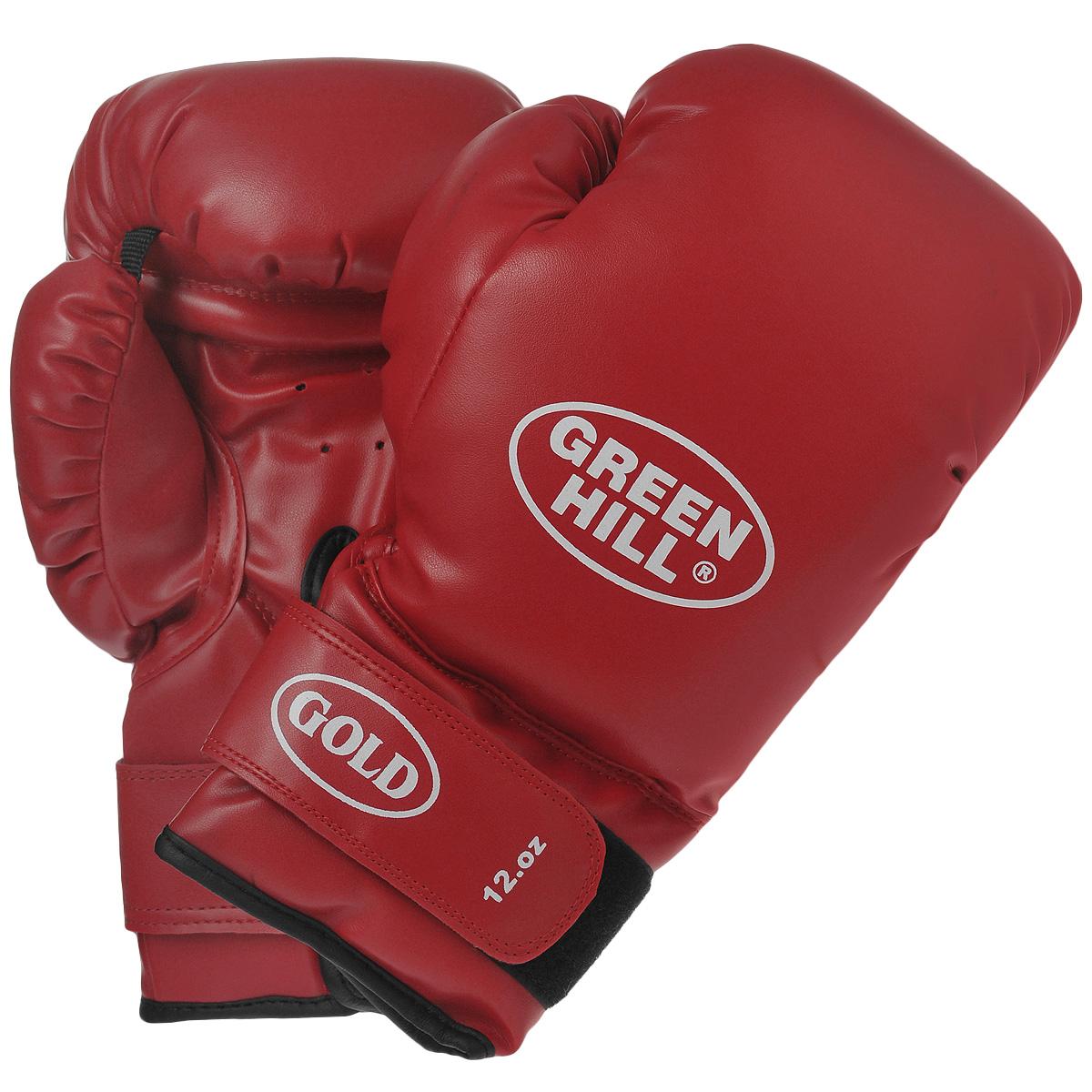 """Перчатки боксерские Green Hill """"Gold"""", цвет: красный. Вес 12 унций BGG-2030"""