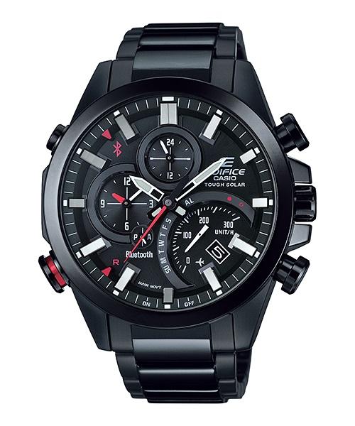 Часы мужские наручные Casio, цвет: черный, красный. EQB-500DC-1AINT-06501Стильные мужские часы Casio EDIFICE выполнены из нержавеющей стали и минерального стекла. Изделие оформлено символикой бренда. В часах предусмотрен аналоговый отсчет времени.Часы оснащены Bluetooth и функцией Mobile Link, которая позволяет синхронизировать часы с смартфоном для автоматической корректировки времени. Функция секундомера позволит замерять прошедшее время в пределах тысячи часовс точностью 1/100 секунды, предусмотрен будильник. Степень влагозащиты 20 atm. Изделие дополнено стальным браслетом, который застегивается замок-клипсу, позволяющий максимально комфортно и быстро снимать и одевать часы.Часы поставляются в фирменной упаковке.Многофункциональные часы Casio EDIFICE подчеркнут мужской характер и отменное чувство стиля у их обладателя.