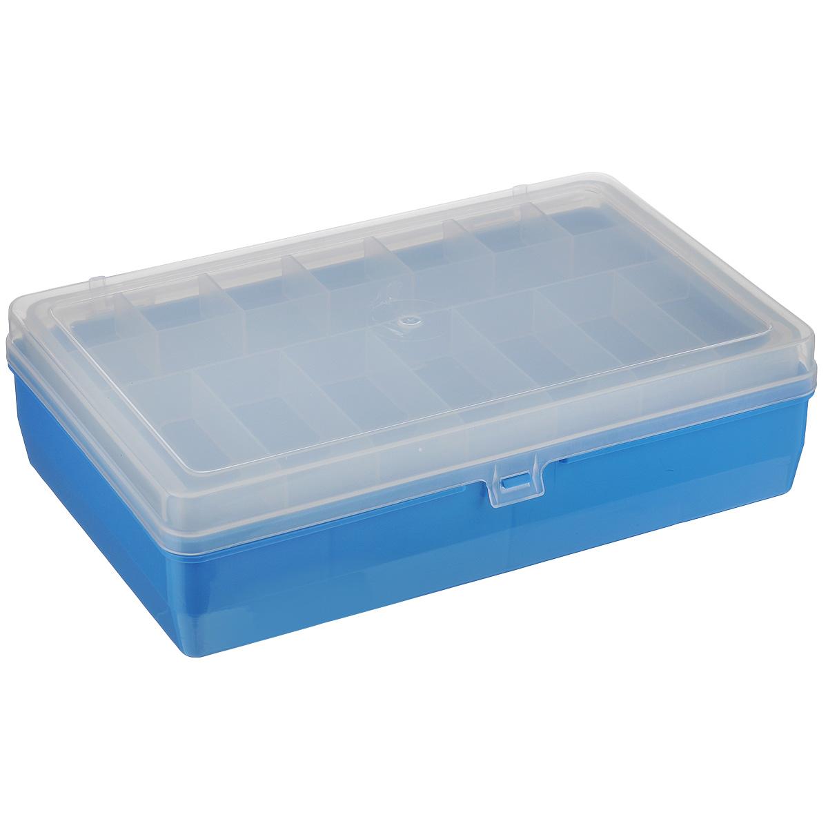 Коробка для мелочей Trivol, двухъярусная, цвет: голубой, 23,5 см х 15 см х 6,5 см23-3-15Двухъярусная коробка для мелочей Trivol изготовлена из высококачественного пластика. Прозрачная крышка позволяет видеть содержимое коробки. Изделие имеет два яруса. Верхний ярус представляет собой съемное отделение, в котором содержится 15 ячеек разной формы. Нижний ярус имеет 3 ячейки разного размера. Коробка прекрасно подойдет для хранения швейных принадлежностей, рыболовных снастей, мелких деталей и других бытовых мелочей. Удобный и надежный замок-защелка обеспечивает надежное закрывание крышки. Коробка легко моется и чистится. Такая коробка поможет держать вещи в порядке.