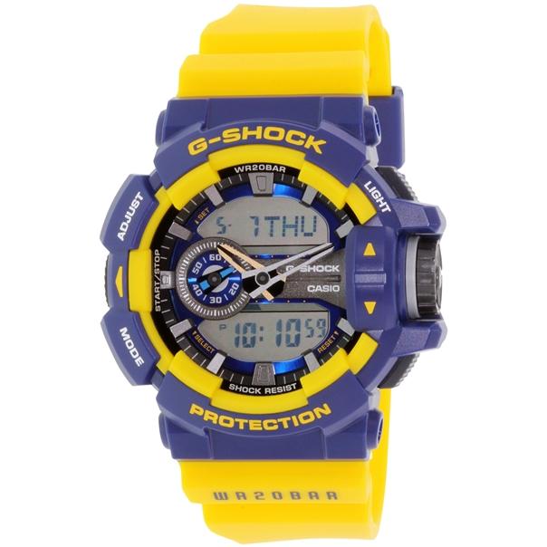 Часы мужские наручные Casio G-SHOCK, цвет: желтый, синий. GA-400-9BGA-400-9BСтильные мужские часы Casio G-SHOCK выполнены из полимерных материалов и минерального стекла. Изделие дополнено светодиодной подсветкой высокой яркости, корпус часов оформлен символикой бренда. В часах предусмотрен аналоговый и цифровой отсчет времени. Часы оснащены функцией мирового времени, которая позволяет мгновенно выяснять текущее время. Часы могут быть настроены на подачу тонального или светового сигнала при наступлении выставленного времени. Функция таймера позволит обеспечить обратный отсчет времени, начиная с выставленного и подачу тонального или светового сигнала, когда отсчет доходит до нуля. Функция секундомера позволит замерять прошедшее время в пределах тысячи часов с точностью 1/100 секунды. Степень влагозащиты 20 atm. Изделие дополнено ремешком из полимерного материала, который обладает антибактериальными и запахоустойчивыми свойствами. Ремешок застегивается на пряжку, позволяющую максимально комфортно и быстро снимать и одевать часы. Часы поставляются в...