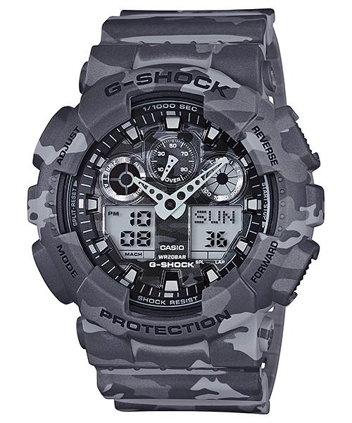 Часы мужские наручные Casio G-SHOCK, цвет: серый, камуфляж. GA-100CM-8ABP-001 BKСтильные мужские часы Casio G-SHOCK выполнены из полимерных материалов и минерального стекла. Изделие дополнено светодиодной подсветкой высокой яркости, корпус часов оформлен символикой бренда и оригинальным принтом. В часах предусмотрен аналоговый и цифровой отсчет времени. Часы оснащены функцией мирового времени, которая позволяет мгновенно выяснять текущее время. Часы могут быть настроены на подачу тонального или светового сигнала при наступлении выставленного времени. Функция таймера позволит обеспечить обратный отсчет времени, начиная с выставленного и подачу тонального или светового сигнала, когда отсчет доходит до нуля. Функция секундомера позволит замерять прошедшее время в пределах тысячи часовс точностью 1/100 секунды, предусмотрен будильник. Степень влагозащиты 20 atm. Изделие дополнено ремешком из полимерного материала, который обладает антибактериальными и запахоустойчивыми свойствами. Ремешок застегивается на пряжку, позволяющую максимально комфортно и быстро снимать и одевать часы.Часы поставляются в фирменной упаковке.Многофункциональные часы Casio G-SHOCK подчеркнут мужской характер и отменное чувство стиля у их обладателя.