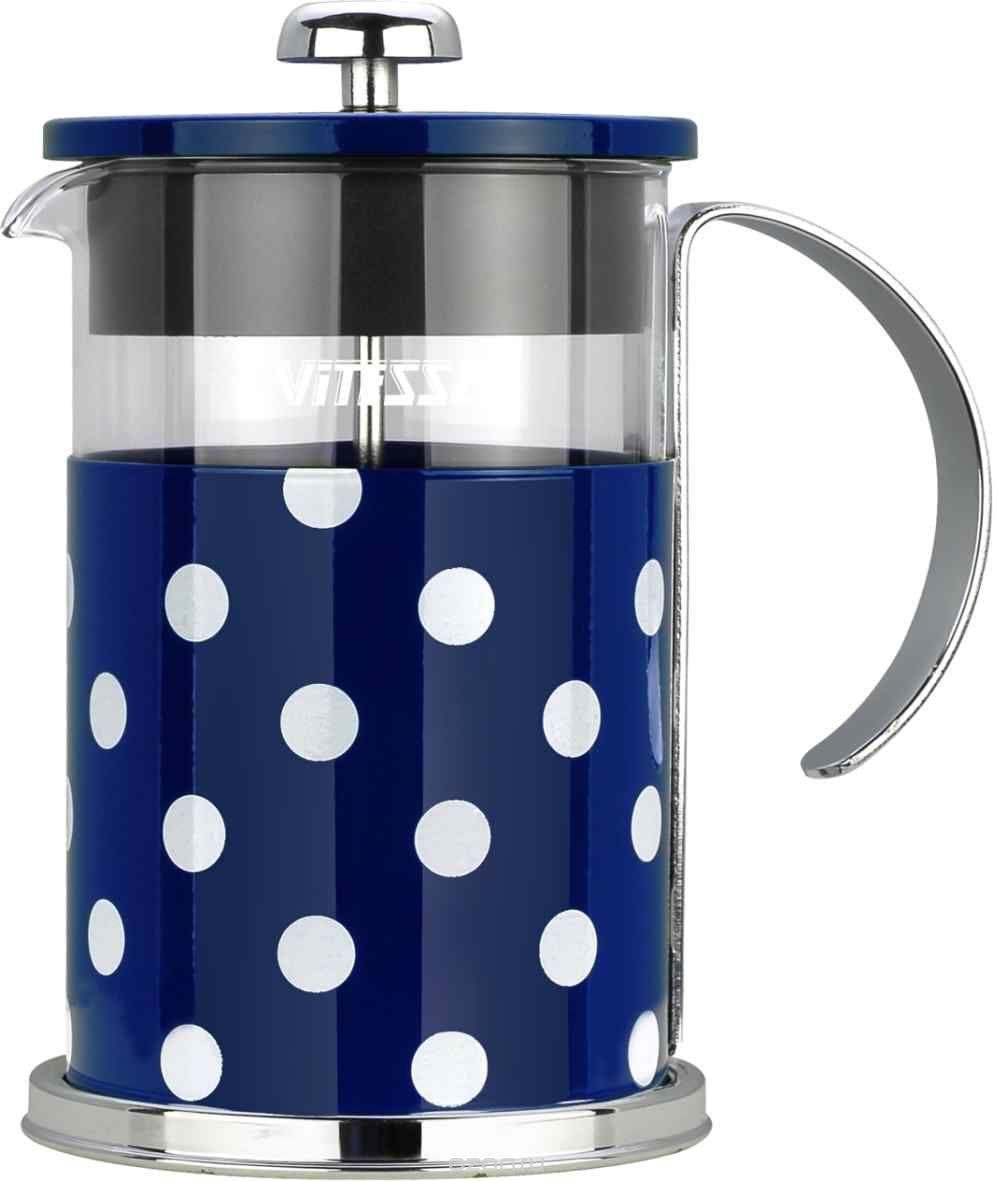 Кофеварка френч-пресс Vitesse, с мерной ложкой, цвет: синий, 800 мл. VS-2622VS-2622Кофеварка Vitesse с фильтром френч-пресс поможет вам в приготовлении ароматного кофе. Колба френч-пресса Vitesse выполнена из термостойкого стекла, что позволяет наблюдать процесс настаивания и заваривания напитка, а также обеспечивает гигиеничность посуды. Внешний корпус, выполненный из нержавеющей стали с цветным изображением, долговечен, прочен и устойчив к деформации и образованию царапин. Френч-пресс имеет удобную ручку, носик, а также мерную ложку, выполненную из пластика. Кофеварки предназначены для приготовления кофе методом настаивания и отжима. Вы также можете использовать френч-пресс для заваривания чая и различных трав. Уникальный дизайн полностью соответствует последним модным тенденциям в создании предметов бытовой техники. Можно использовать в посудомоечной машине. Высота кофеварки (без учета крышки): 16 см. Размер кофеварки (с учетом крышки и ручки): 18,5 см х 16,5 см х 11,3 см. Диаметр основания: 11,3 см. ...
