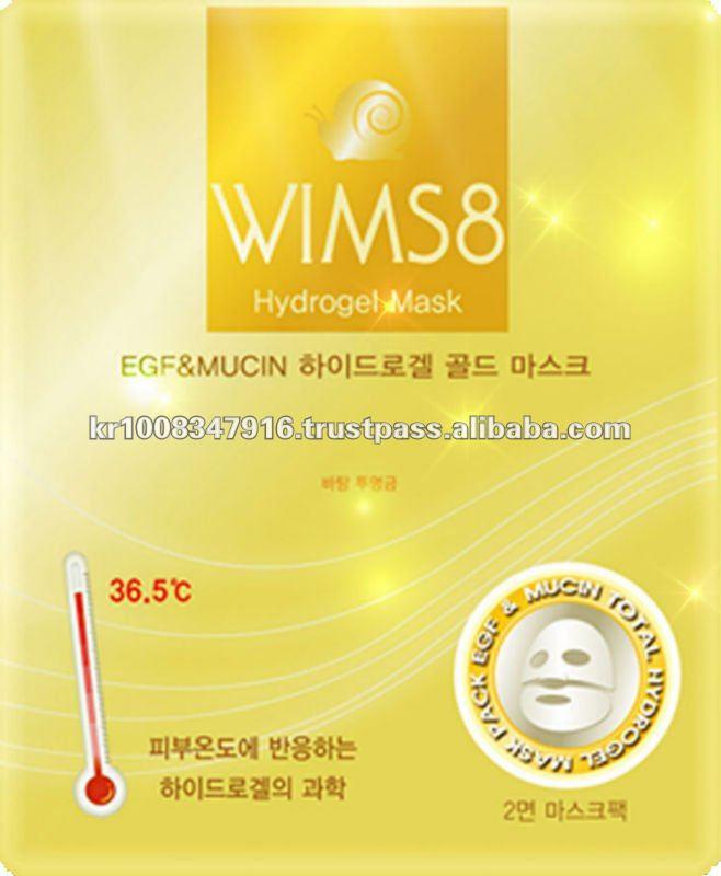 WIMS8 Гидрогелевая маска для лица Hydroгрel грold mask 15 гр60029Эта гидрогелевая маска содержит большое количество активных ингредиентов, таких как EGF, муцин и аденозин, которые глубоко впитываются в кожу при помощи гидрогелевой технологии.