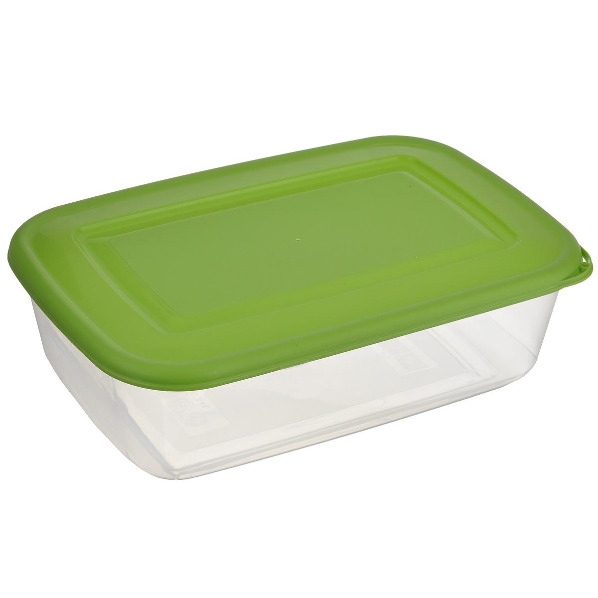 Контейнер Бытпласт, цвет: прозрачный, зеленый, 3,4 лС11116Контейнер Бытпласт, изготовленный из пищевого пластика, предназначен специально для хранения пищевых продуктов. Крышка легко открывается и плотно закрывается. Контейнер устойчив к воздействию масел и жиров, легко моется. Прозрачные стенки позволяют видеть содержимое. Можно использовать в микроволновой печи только для разогрева пищи и без крышки, подходит для хранения пищи в холодильнике. Можно мыть в посудомоечной машине.