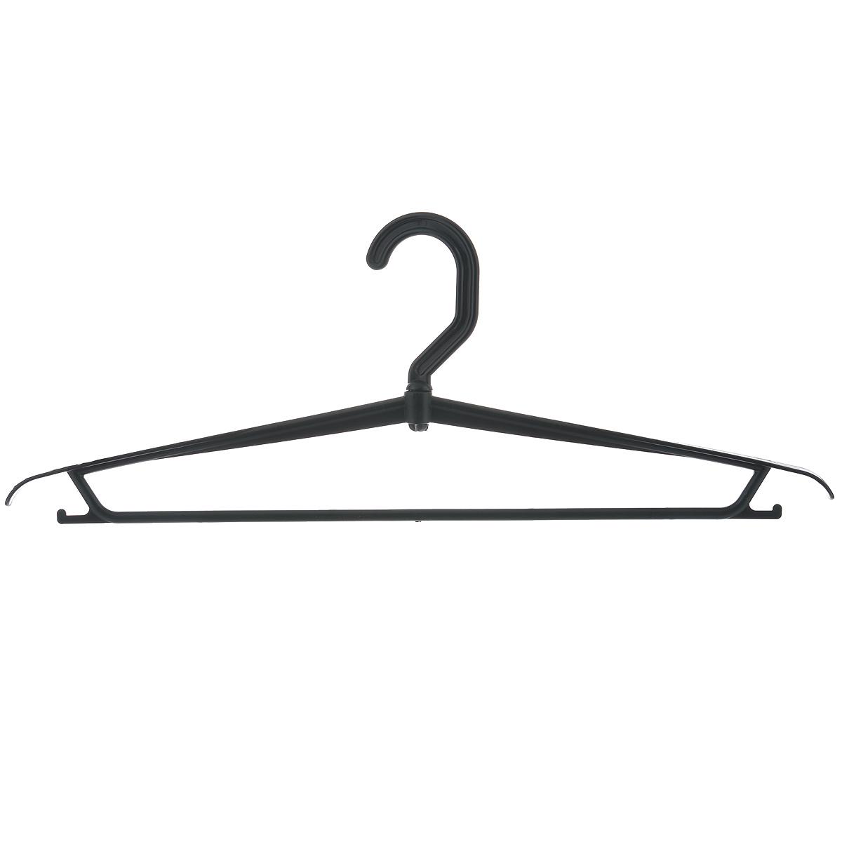 Вешалка для одежды М-пластика, цвет: черныйМ 2207Вешалка М-пластика выполнена из прочного пластика. Изделие оснащено перекладиной и боковыми крючками. Вешалка - это незаменимая вещь для того, чтобы ваша одежда всегда оставалась в хорошем состоянии.