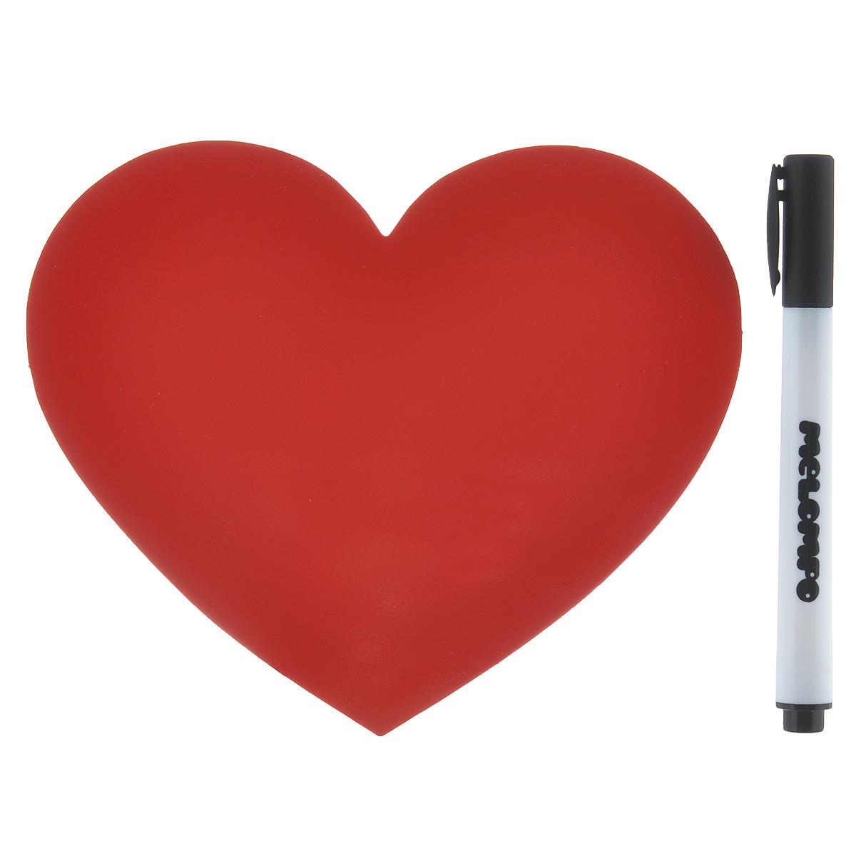 Памятка маркерная Melompo Сердце, 12 х 10 смFS-91909Магнитная доска на холодильник Melompo Сердце - оригинальная вещь для ежедневных посланий родным и близким. Доска выполнена в виде сердца.В комплект входят:Памятка - легко примагничивается и просто снимается.Маркер - прекрасно пишет и также хорошо стирается.Держатель - позволит примагнитить памятку к неметаллической поверхности.