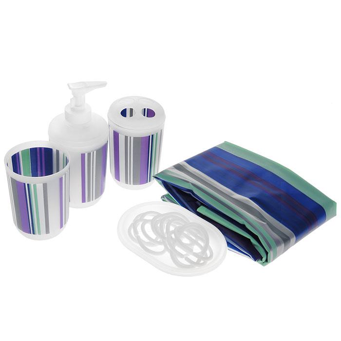Набор для ванной комнаты House & Holder, 5 предметов. SWYS049UP210DFНабор для ванной комнаты House & Holder состоит из дозатора для жидкого мыла, стакана для зубной пасты, держателя для зубных щеток, мыльницы и шторы для ванной с кольцами. Дозатор для жидкого мыла, стакан для зубной пасты, держатель для зубных щеток, мыльницы и 12 колец выполнены из прочного пластика. Водонепроницаемая штора выполнена из полимера. Дозатор, стакан, держатель и штора украшены разноцветными полосками.С таким комплектом вы можете изменить облик ванной комнаты. Аксессуары, входящие в набор, выполняют не только практическую, но и декоративную функцию. Они способны внести в помещение изысканность, сделать пребывание в нем приятным и даже незабываемым. Высота стакана для пасты: 9,5 см. Диаметр стакана (по верхнему краю): 7 см. Высота держатель для зубных щеток: 11 см. Диаметр держателя для зубных щеток: 7 см. Размер дозатора: 7 см х 7 см х 15,5 см. Размер мыльницы: 13 см х 9,5 см х 2,5 см. Размер шторы: 180 см х 180 см.