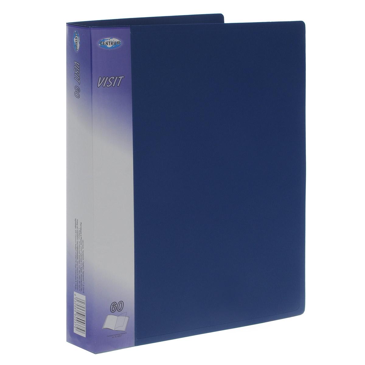 Папка с файлами Centrum Visit, на 60 файлов, цвет: синий. Формат А4FS-36054Папка Centrum Visit - это удобный и функциональный инструмент, предназначенный для хранения и транспортировки бумаг и документов формата А4. Обложка папки изготовлена из прочного непрозрачного пластика. Папка включает в себя 60 прозрачных файлов формата А4. Папка надежно сохранит ваши бумаги и сбережет их от повреждений, влаги и пыли.