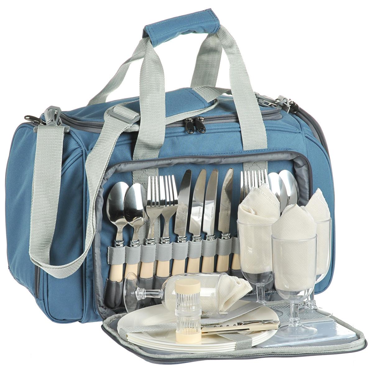 Термосумка Norfin Vardo, с посудой, цвет: голубой, серый, 52 см х 30 см х 31 смNFL-40106Сумка Norfin Vardo с набором для пикника на 4 персоны и с легкомоющимся термоотделением для продуктов объемом 20 л. Сумка оснащена двойными ручками и регулируемым по длине наплечным ремнем. В комплект входит посуда и принадлежности для пикника: 4 ложки. 4 вилки. 4 ножа 4 тарелки. 4 бокала. 4 тканевые салфетки. Разделочная доска. Открывалка-штопор. Солонка двухсекционная. Нож сырный. Длина ножей: 21 см. Длина вилок: 20 см. Длина ложек: 19 см. Диаметр тарелок: 23,5 см. Высота тарелок: 2 см. Диаметр бокалов: 6,5 см. Высота бокалов: 14 см. Размер салфеток: 34 см х 34 см. Размер разделочной доски: 18 см х 15 см. Длина открывалки-штопора: 11 см. Диаметр солонки: 3,5 см. Высота солонки: 8 см. Длина сырного ножа: 21 см. Размер сумки: 52 см х 30 см х 31 см.
